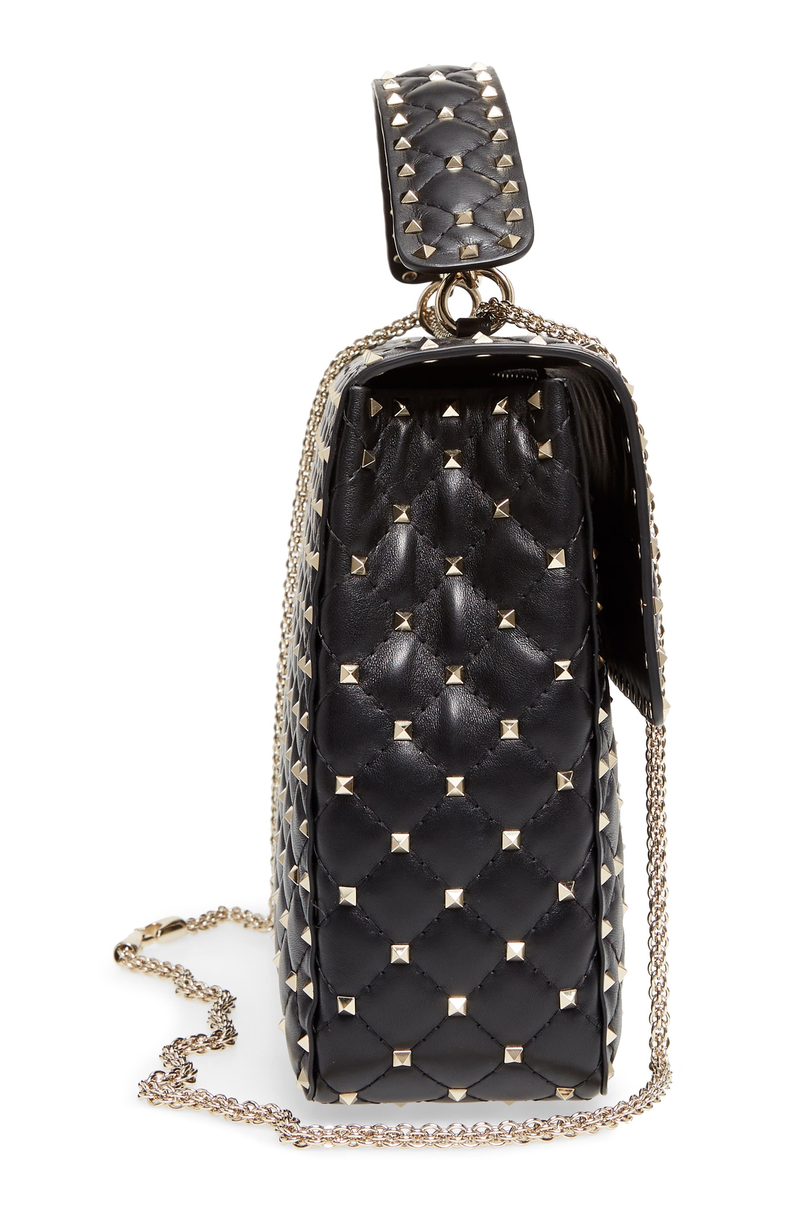 Rockstud Spike Maxi Shoulder Bag,                             Alternate thumbnail 5, color,                             BLACK