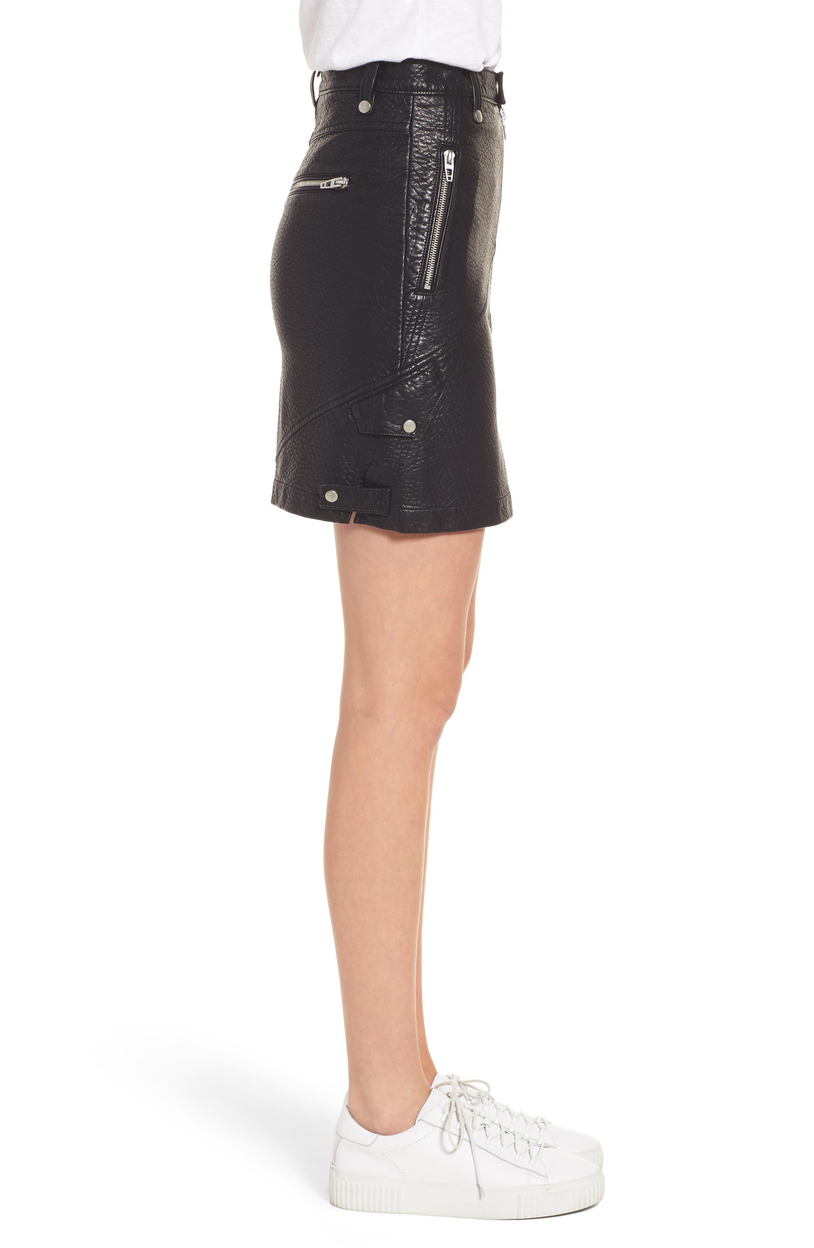 Faux Leather Moto Skirt,                             Alternate thumbnail 3, color,                             001