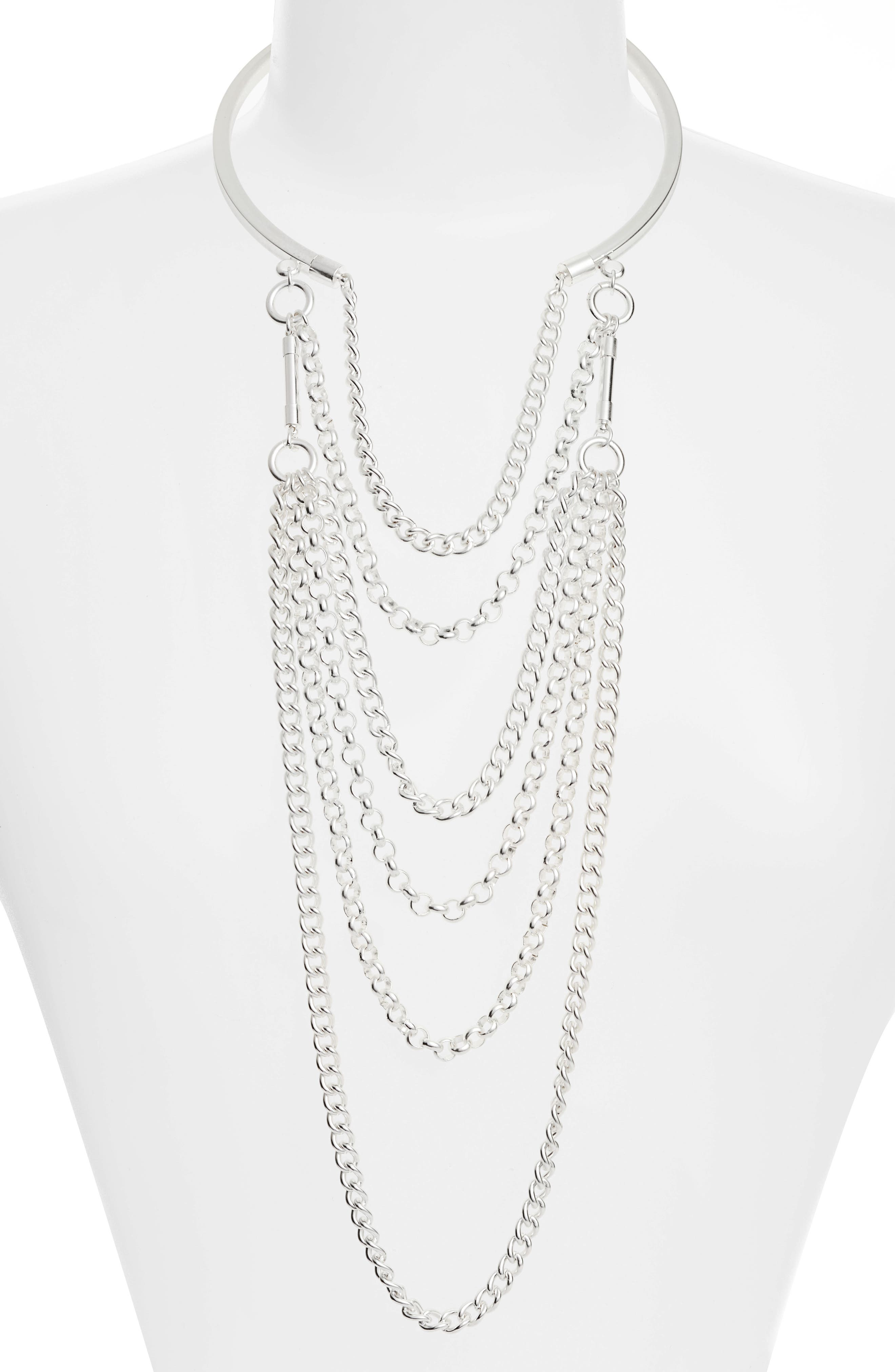 Elia Layered Necklace,                             Alternate thumbnail 2, color,                             SILVER