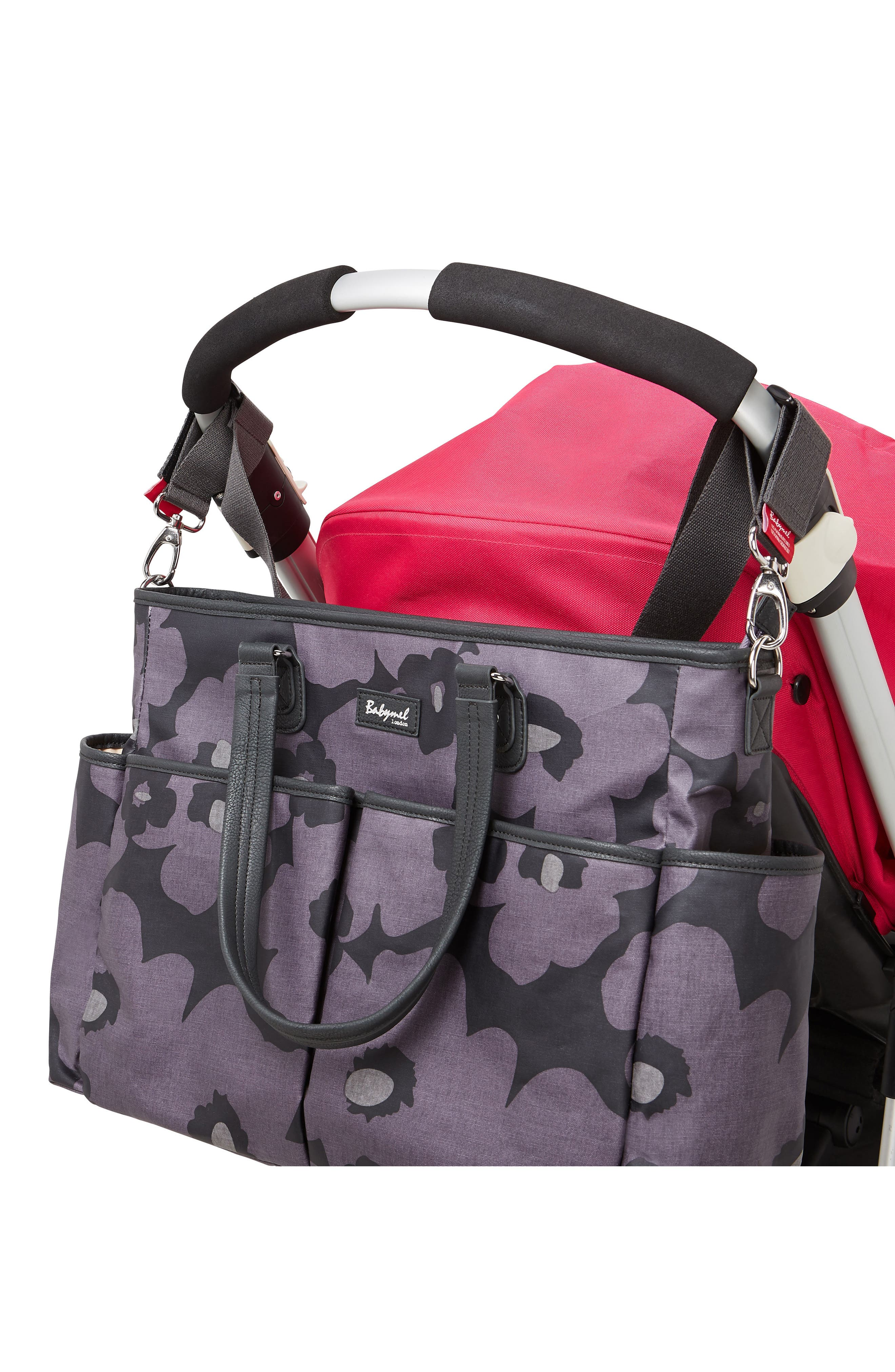 Bella Diaper Bag,                             Alternate thumbnail 3, color,                             FLORAL GREY
