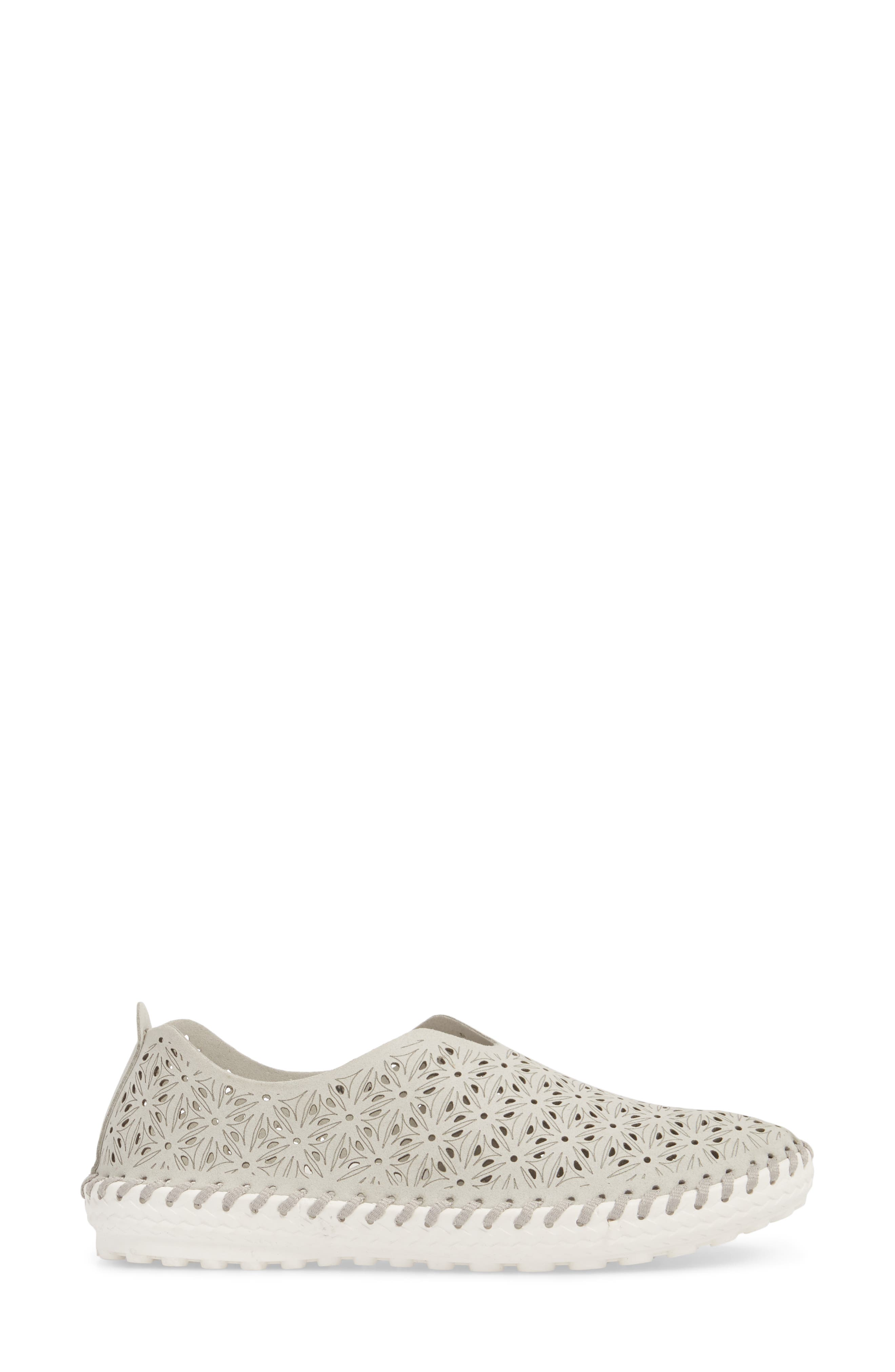 Perforated Slip-On Flat,                             Alternate thumbnail 3, color,                             LIGHT GREY LEATHER