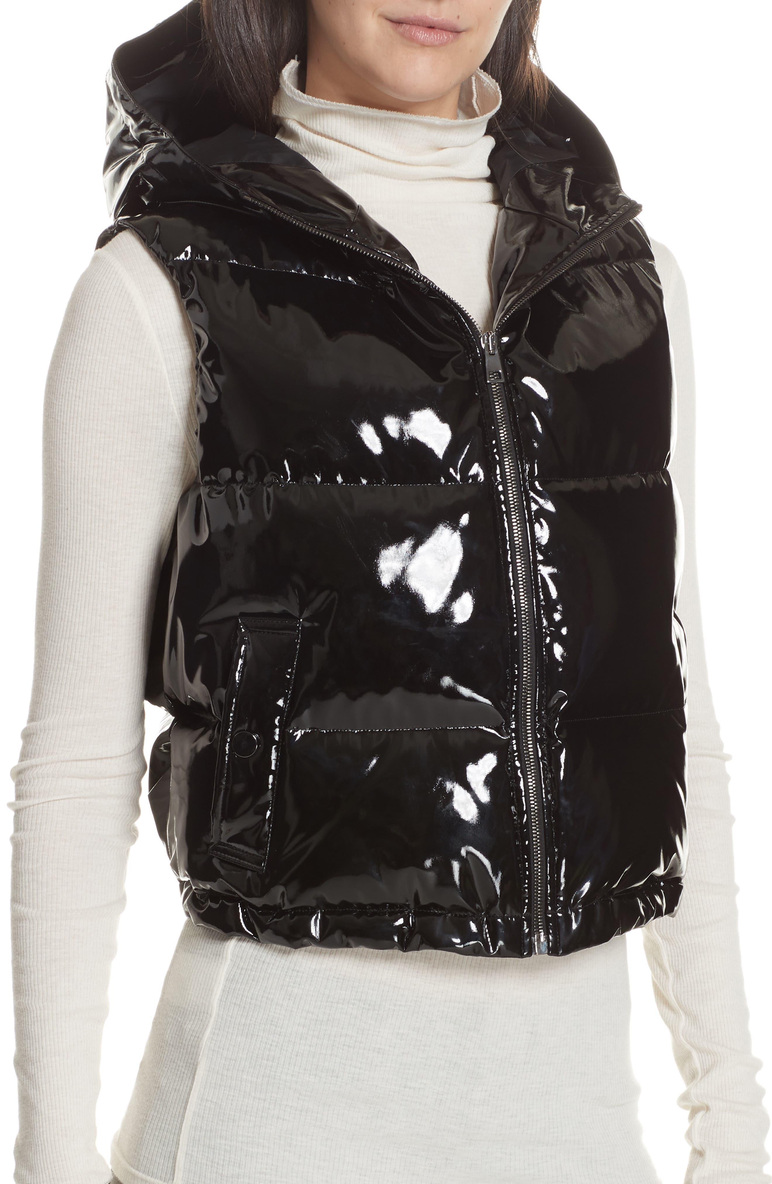 Shrunken Patent Puffer Vest,                             Alternate thumbnail 4, color,                             BLACK
