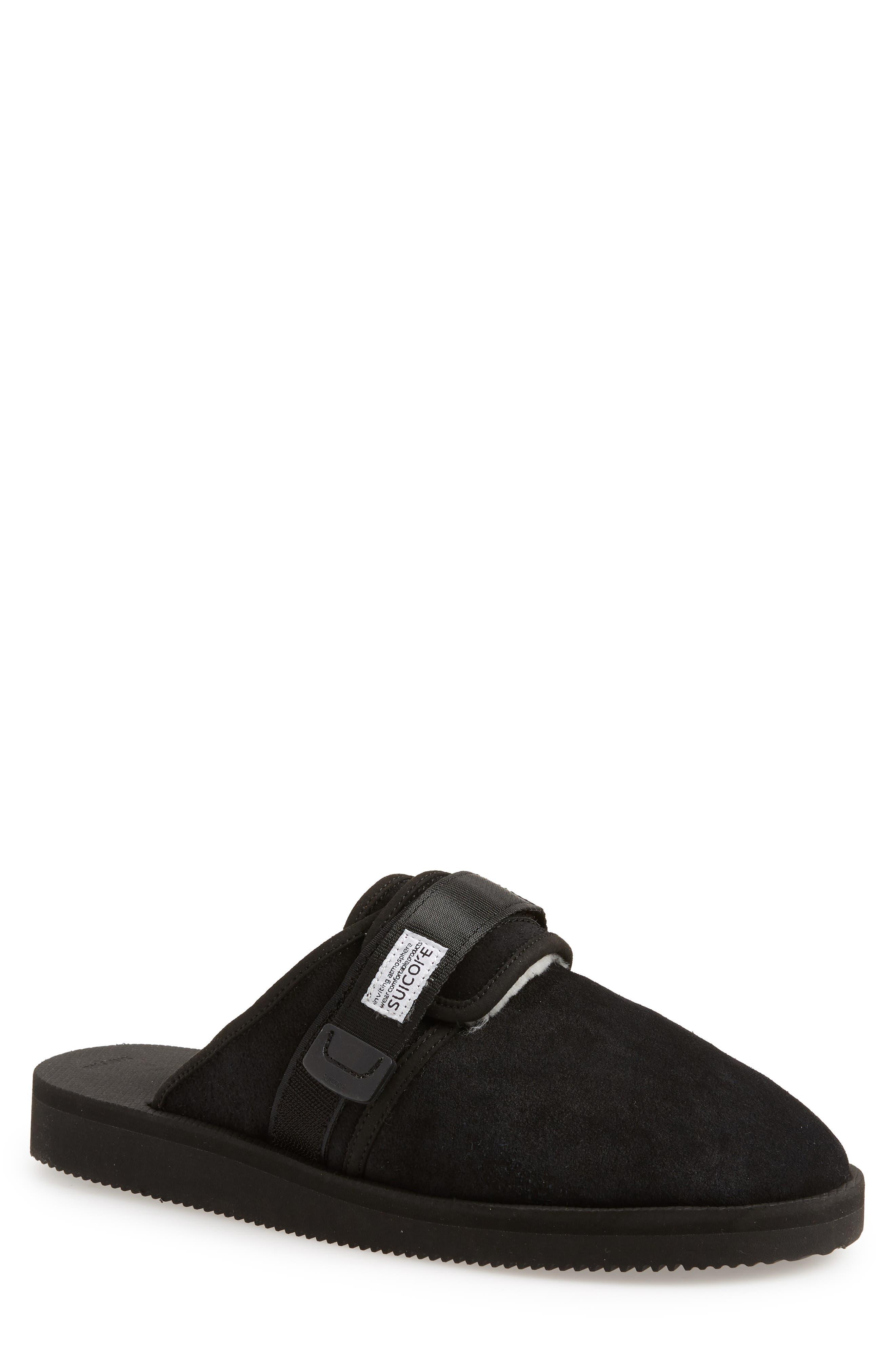 Zavo Genuine Shearling Slipper,                         Main,                         color, BLACK