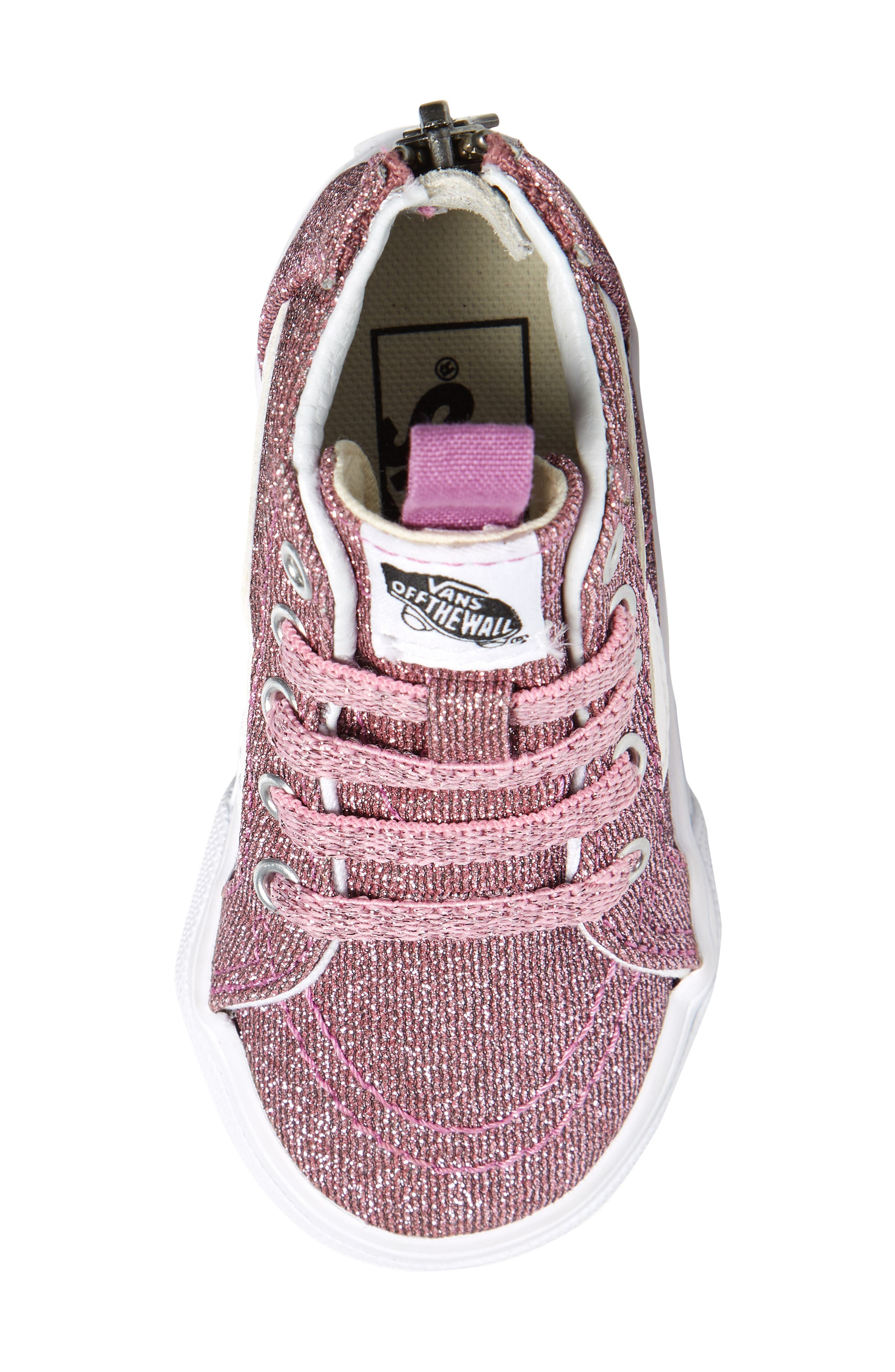 Sk8-Hi Zip Sneaker,                             Alternate thumbnail 5, color,                             LUREX GLITTER PINK/ TRUE WHITE