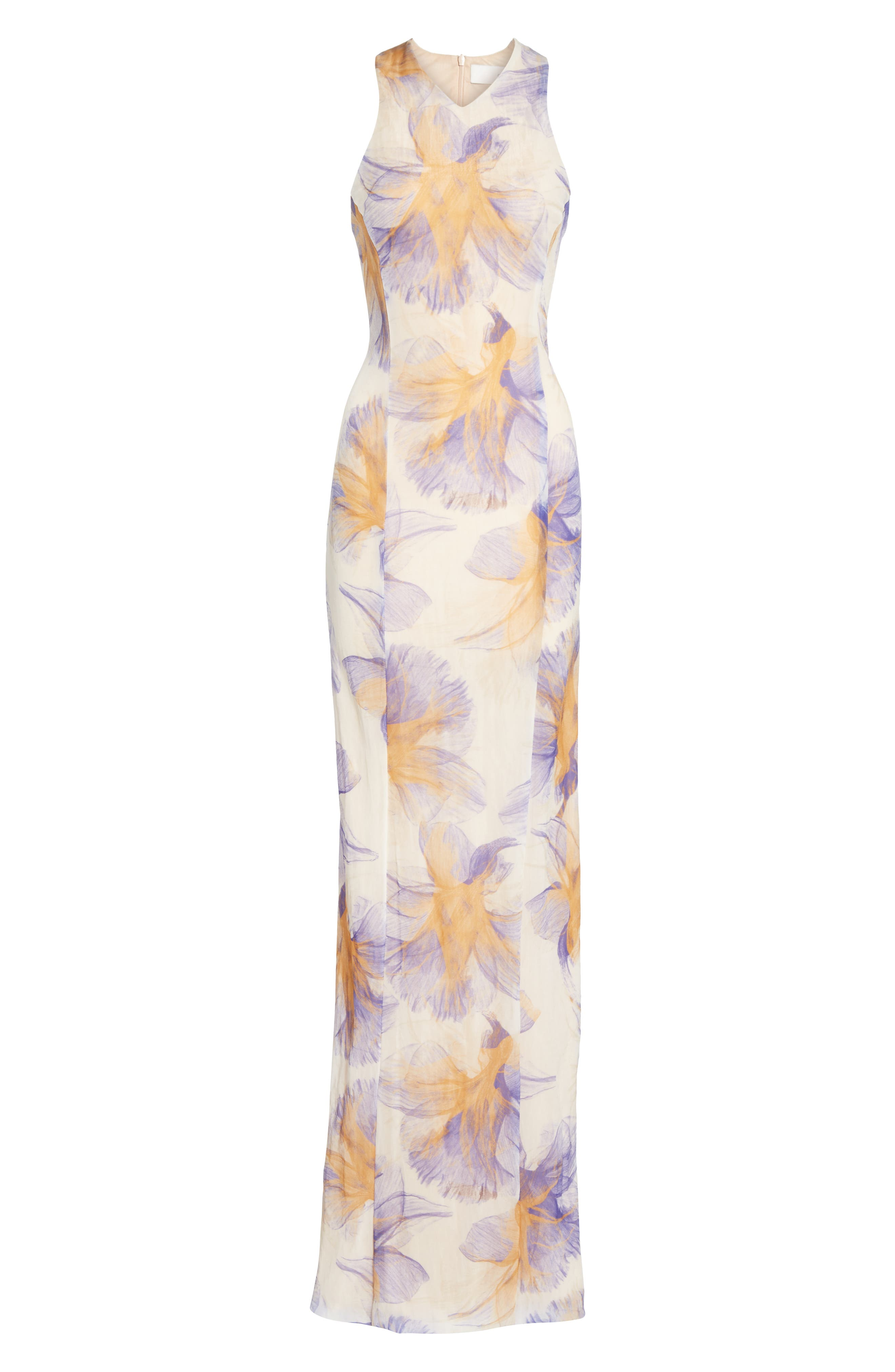 GALVAN,                             Abstract Floral Print Gown,                             Alternate thumbnail 7, color,                             ABSTRACT FLORAL