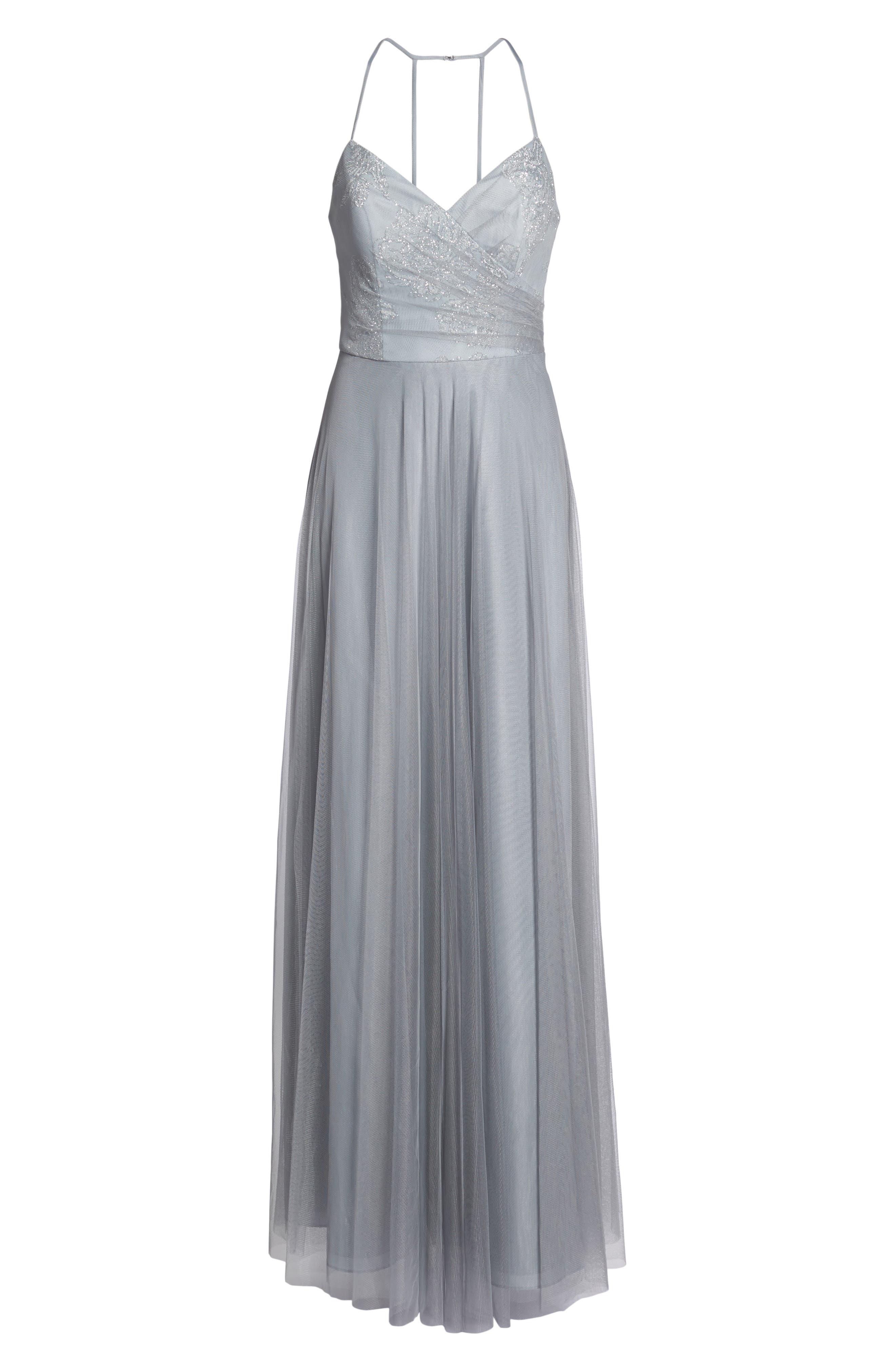 Embellished Bodice Net Halter Gown,                             Alternate thumbnail 7, color,                             PEWTER
