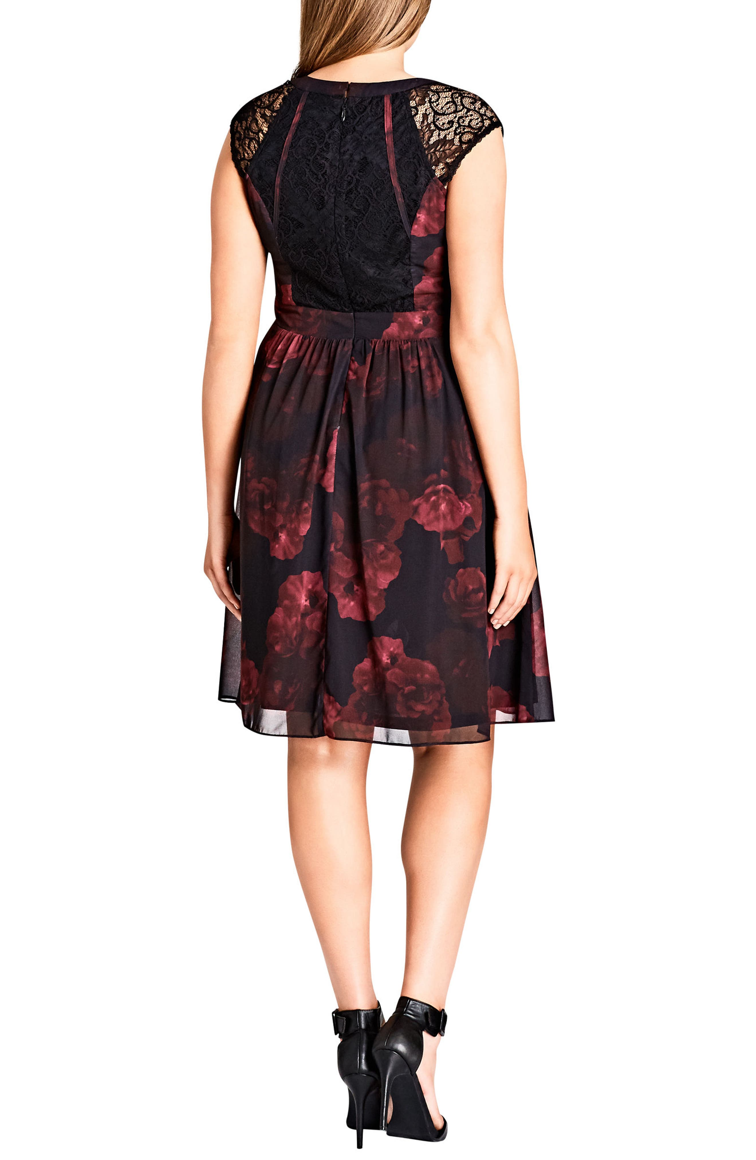 Crimson Rose Fit & Flare Dress,                             Alternate thumbnail 3, color,                             001