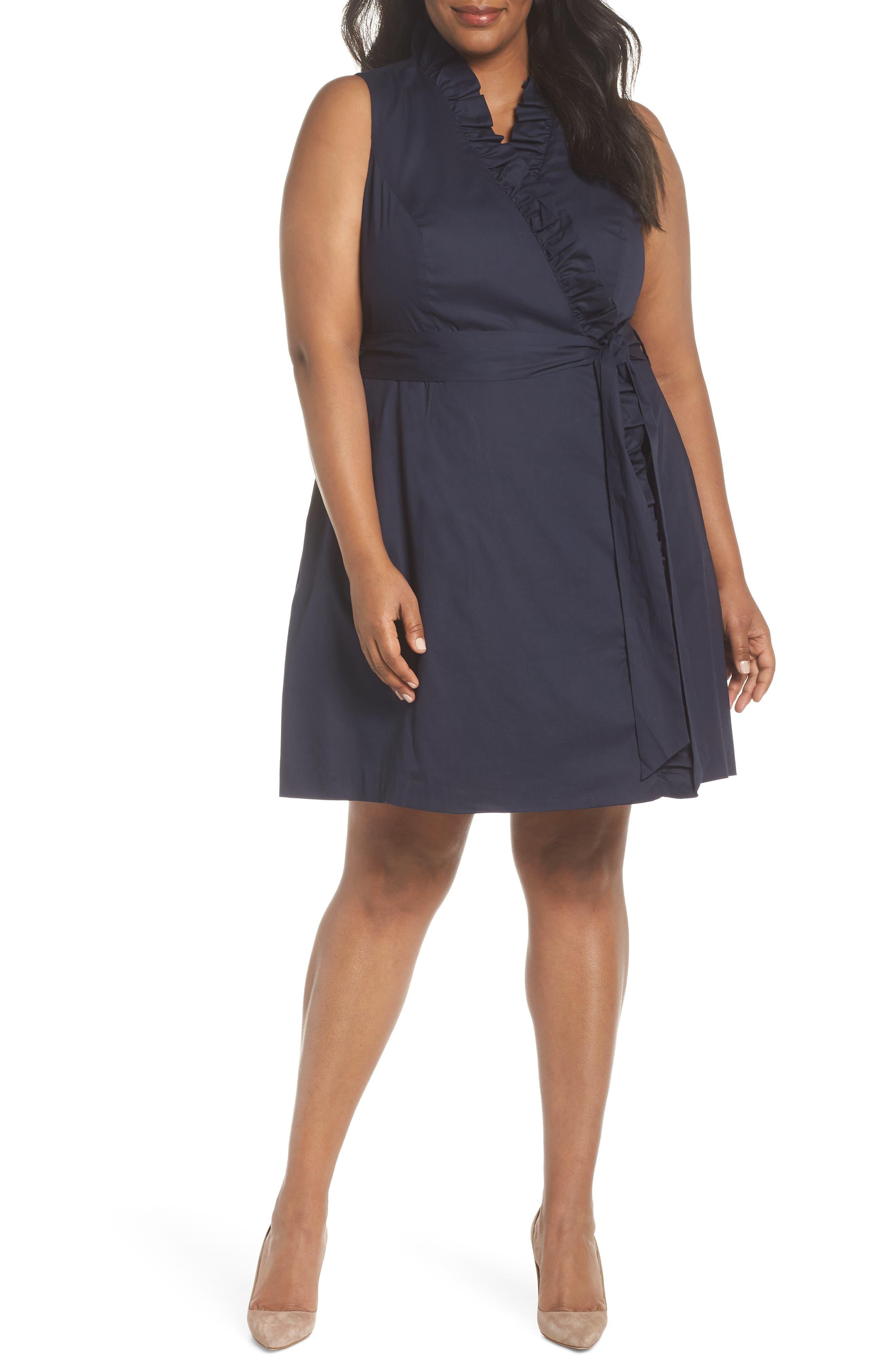 Ruffle Trim Poplin Wrap Dress,                         Main,                         color, NAVY