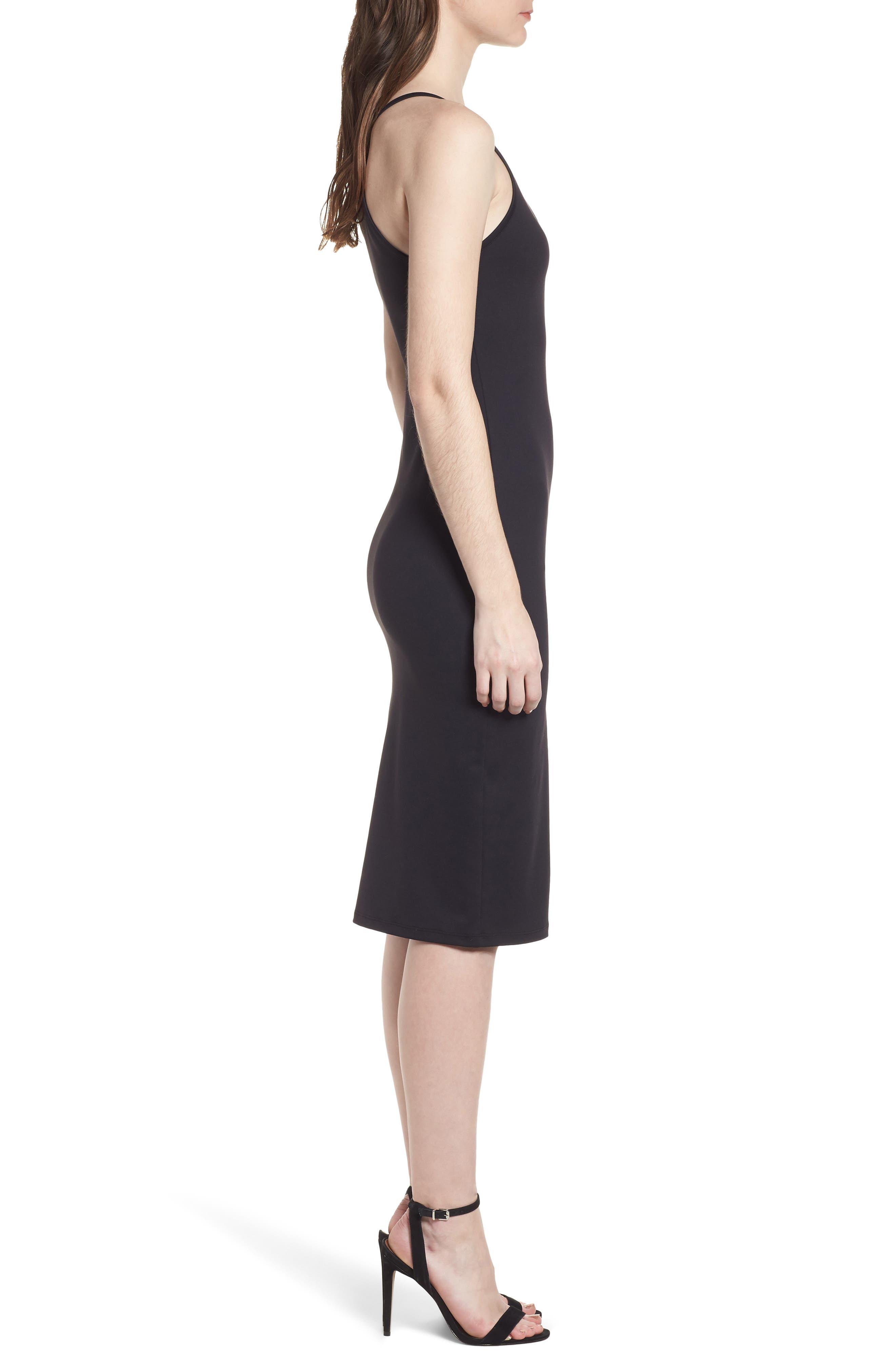 Body-Con Midi Dress,                             Alternate thumbnail 4, color,                             001
