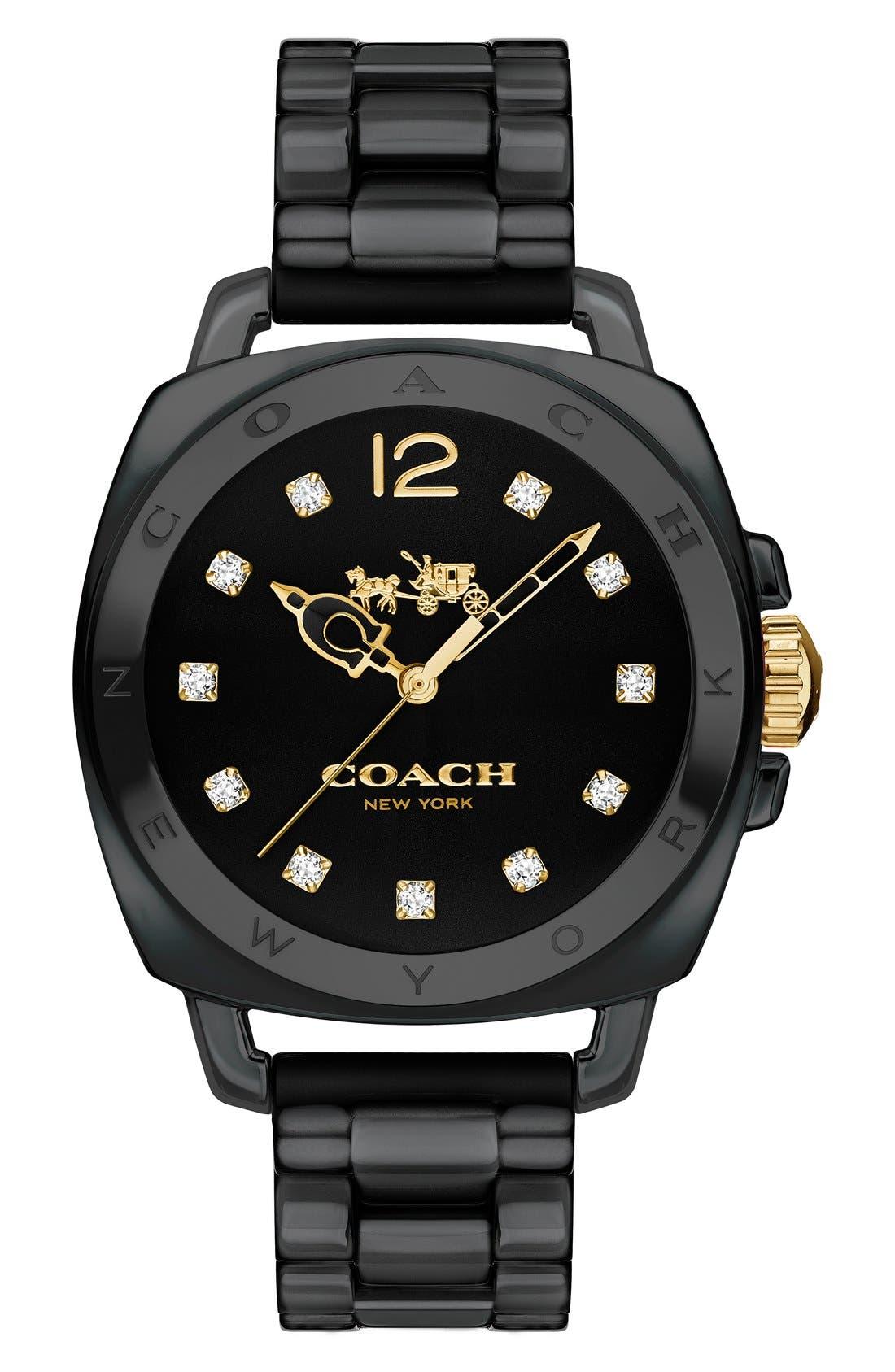 'Boyfriend' Ceramic Bracelet Watch, 34mm,                             Main thumbnail 1, color,                             001