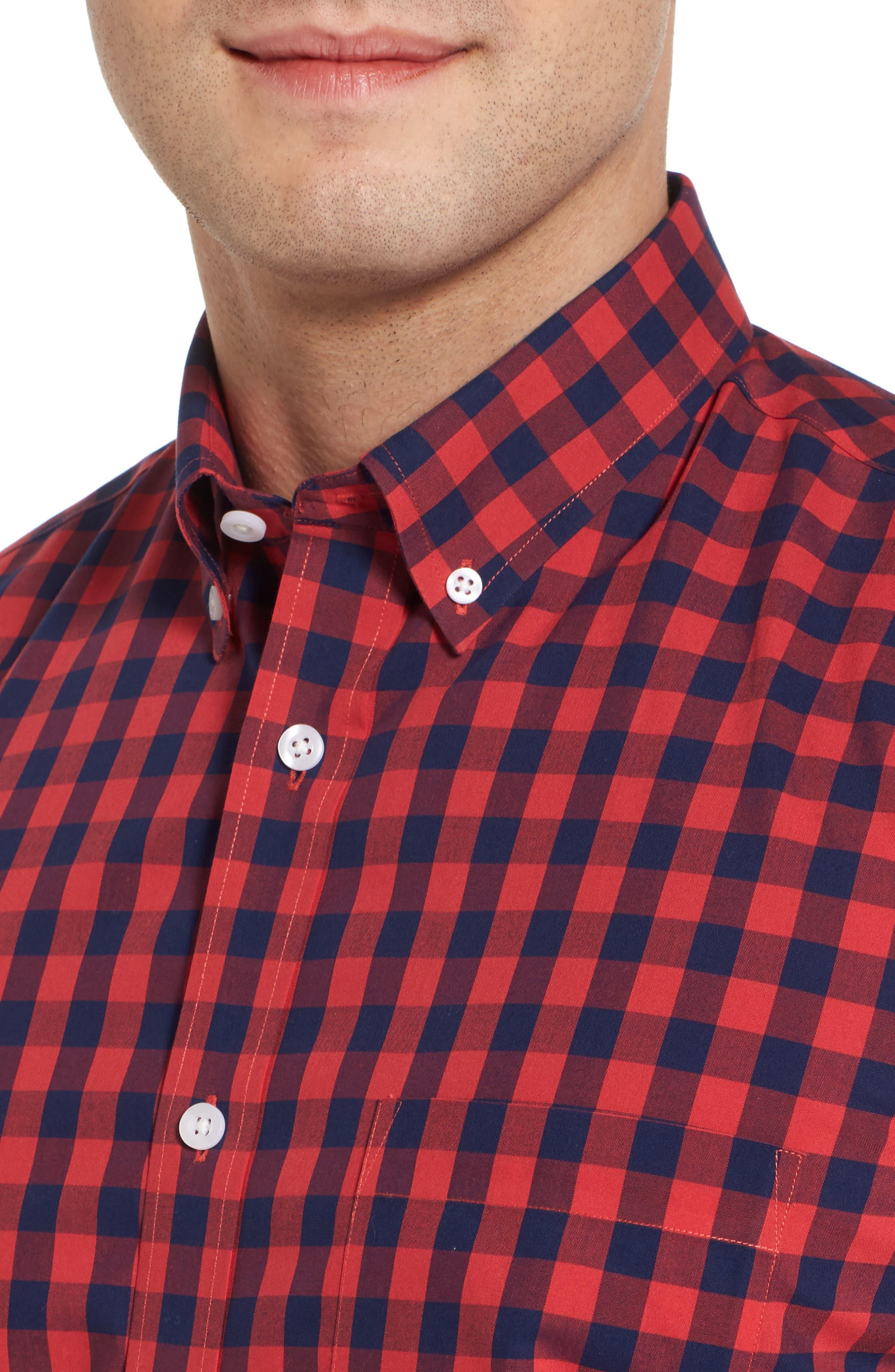 Regular Fit Gingham Sport Shirt,                             Alternate thumbnail 4, color,                             410