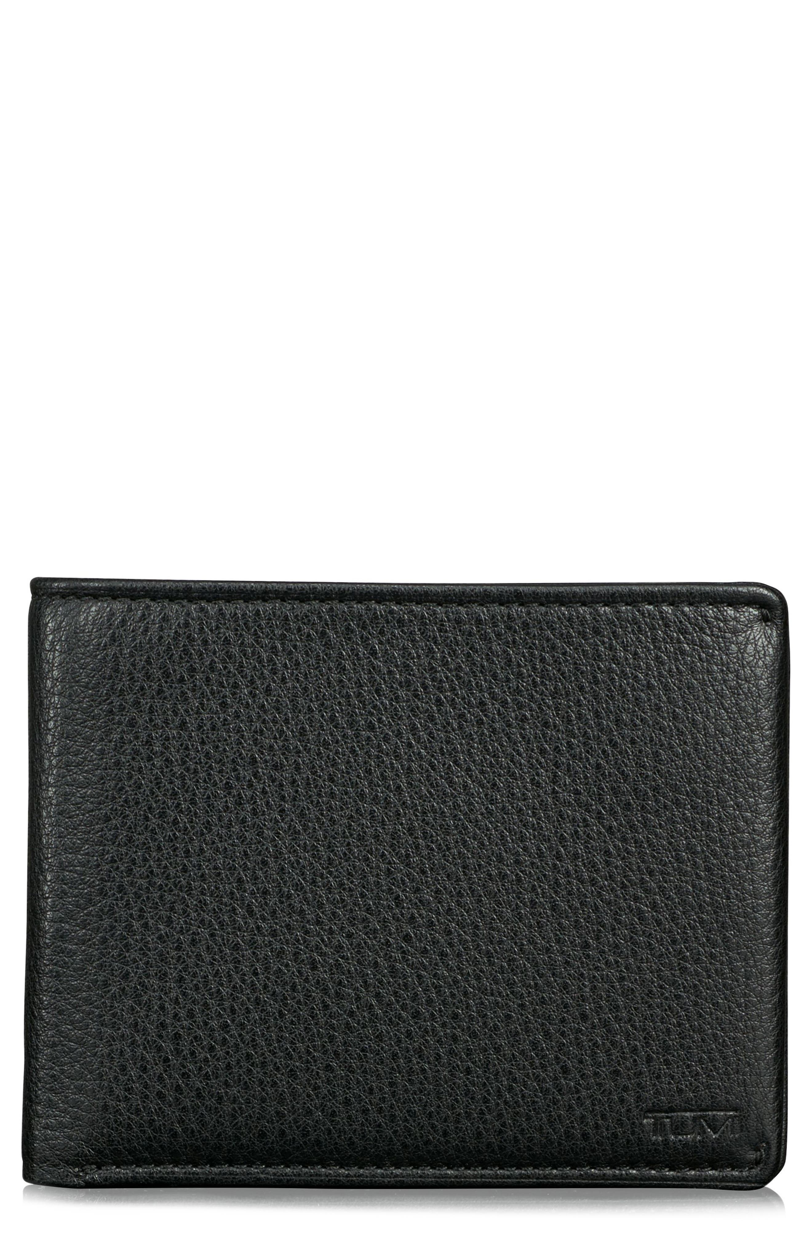 Global Leather RFID Wallet,                             Main thumbnail 1, color,                             BLACK TEXTURED