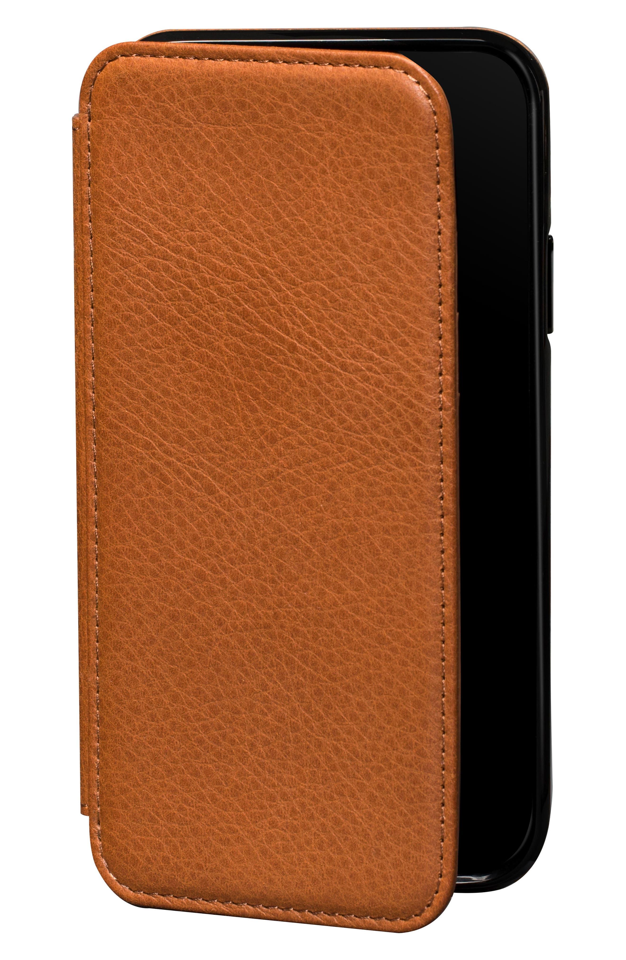 Bence iPhone X & Xs Walletbook,                             Main thumbnail 1, color,                             SADDLE