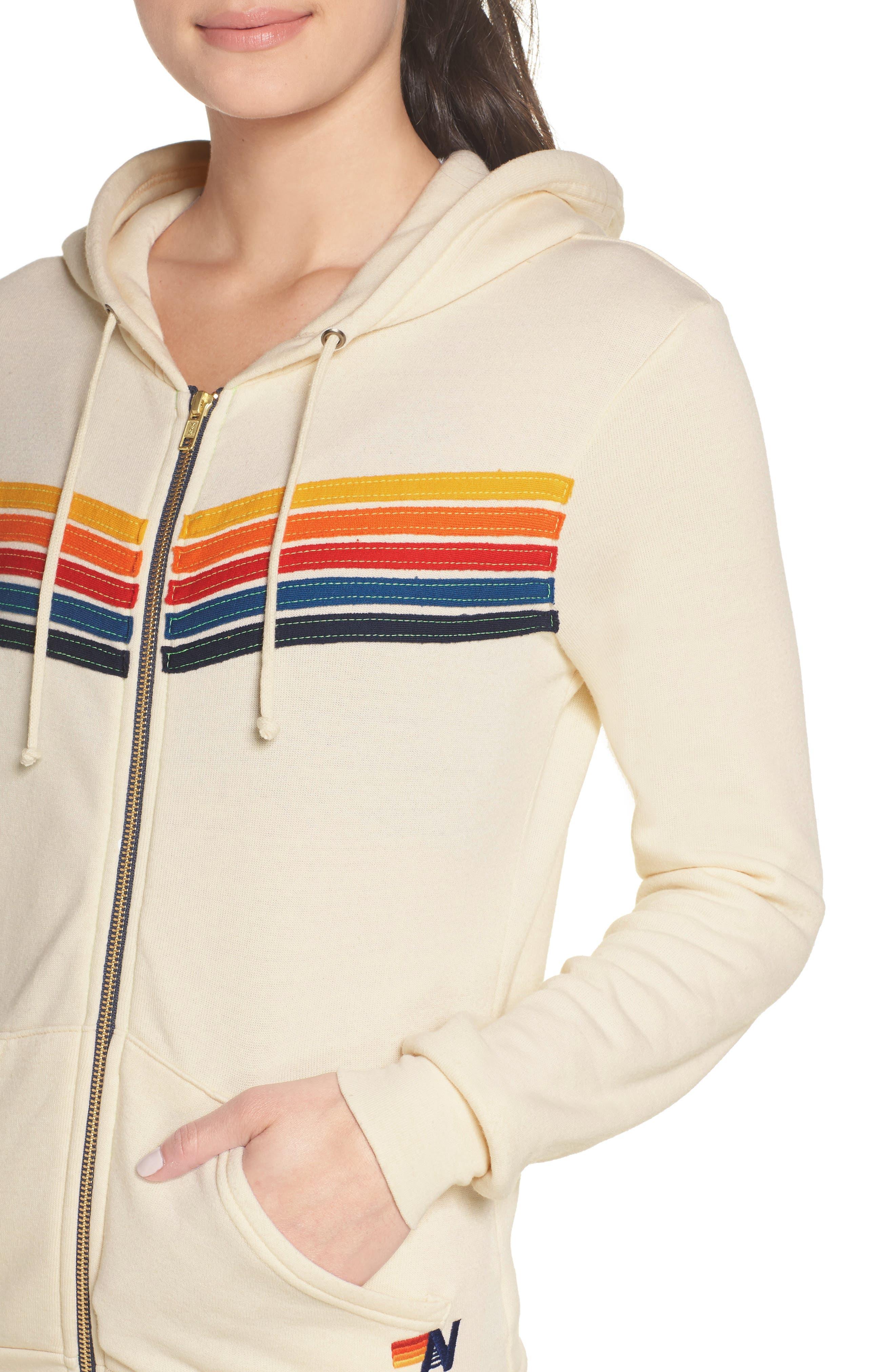 AVIATOR NATION,                             5-Stripe Zip Hoodie,                             Alternate thumbnail 4, color,                             VINTAGE WHITE
