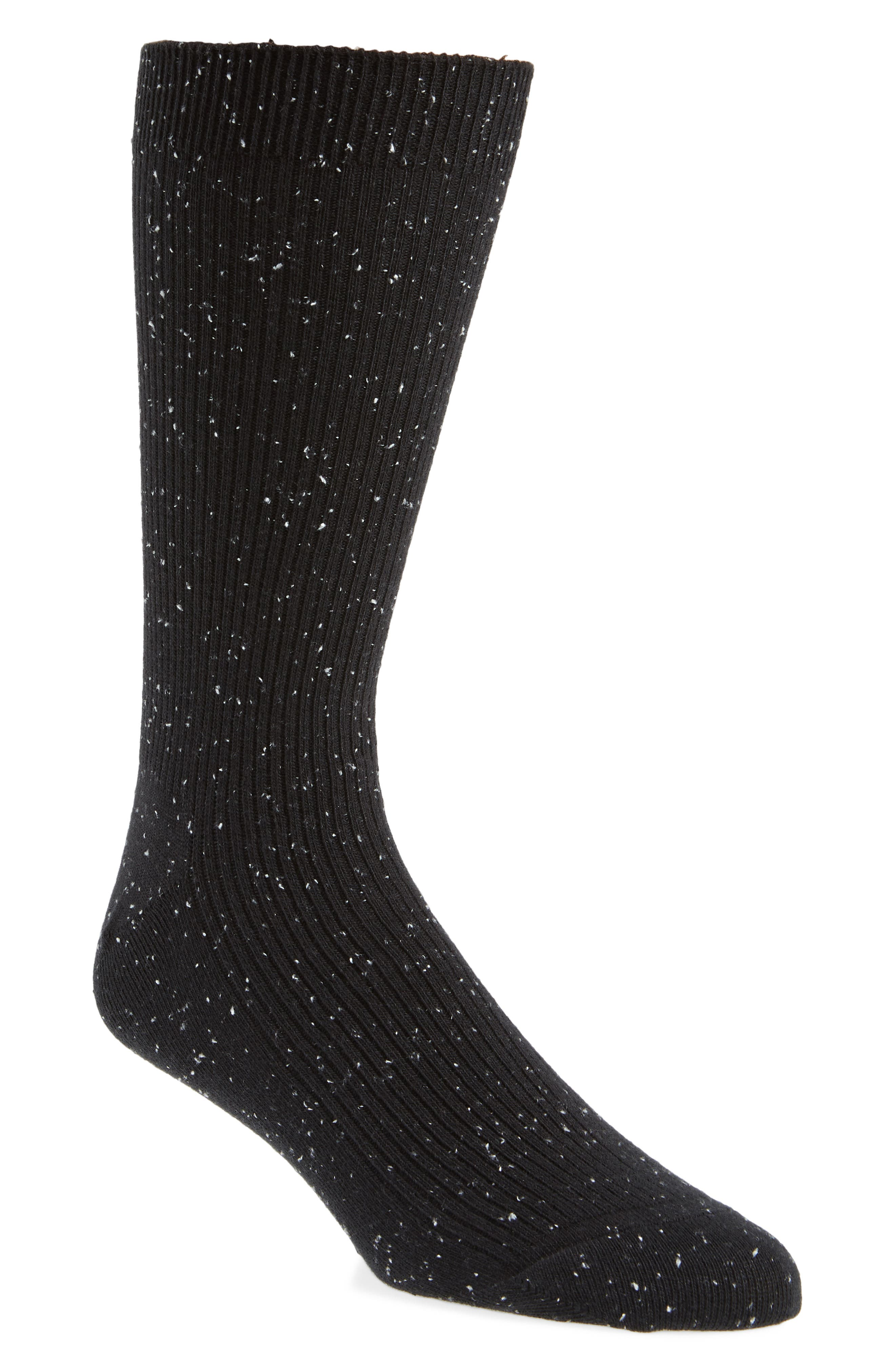 Ribbed Socks,                         Main,                         color, BLACK