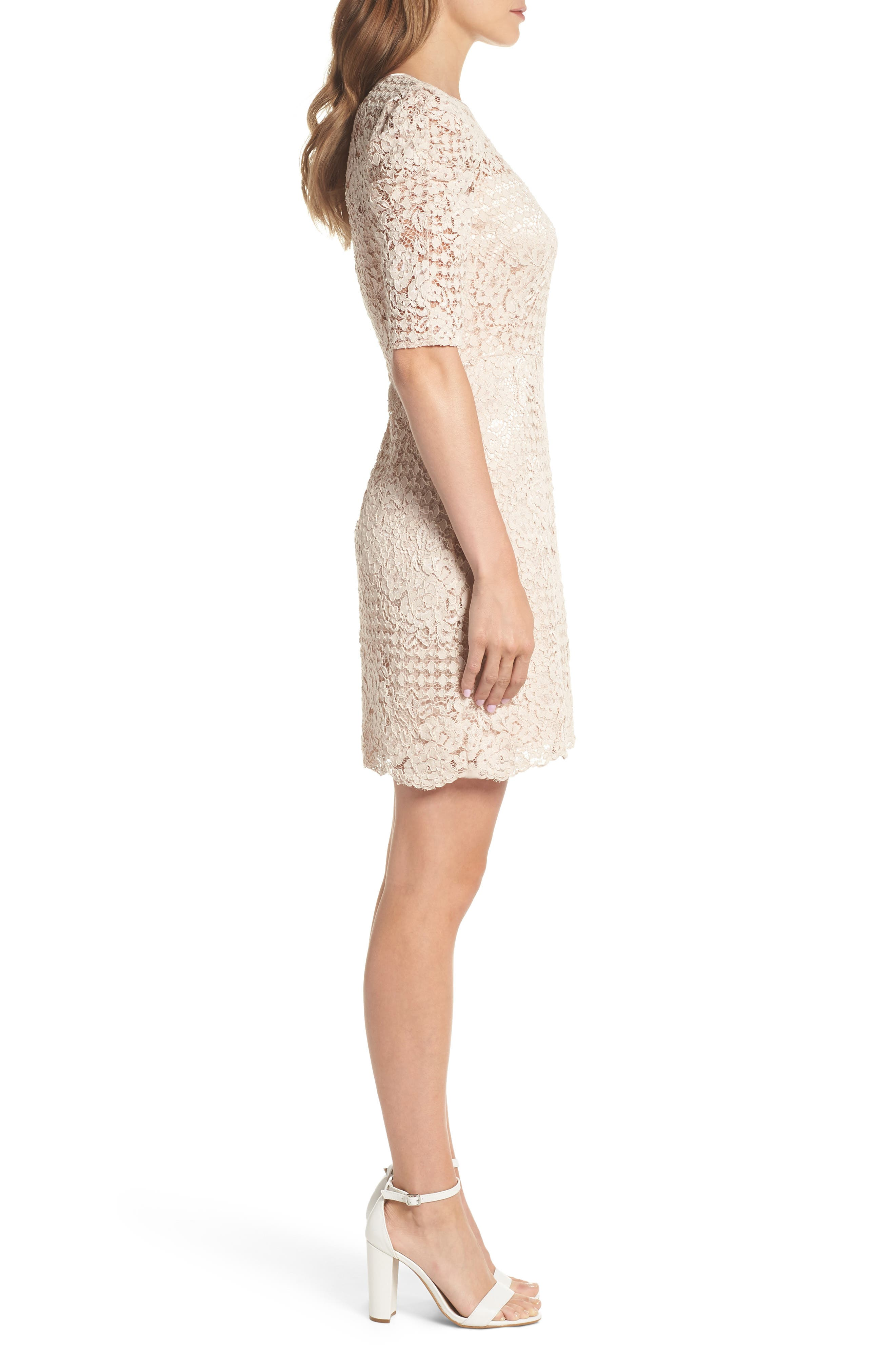 Ruched Sleeve Lace Dress,                             Alternate thumbnail 3, color,                             PINK BLUSH
