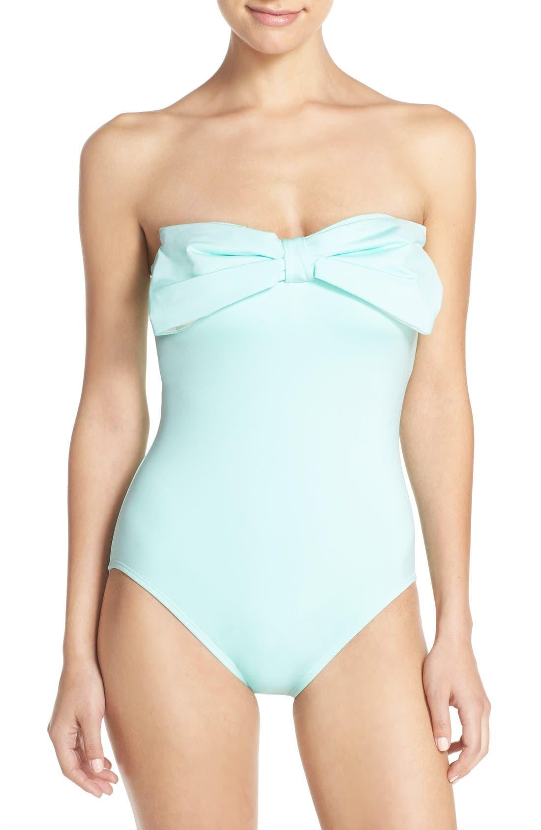 bow neck one-piece swimsuit,                             Main thumbnail 1, color,