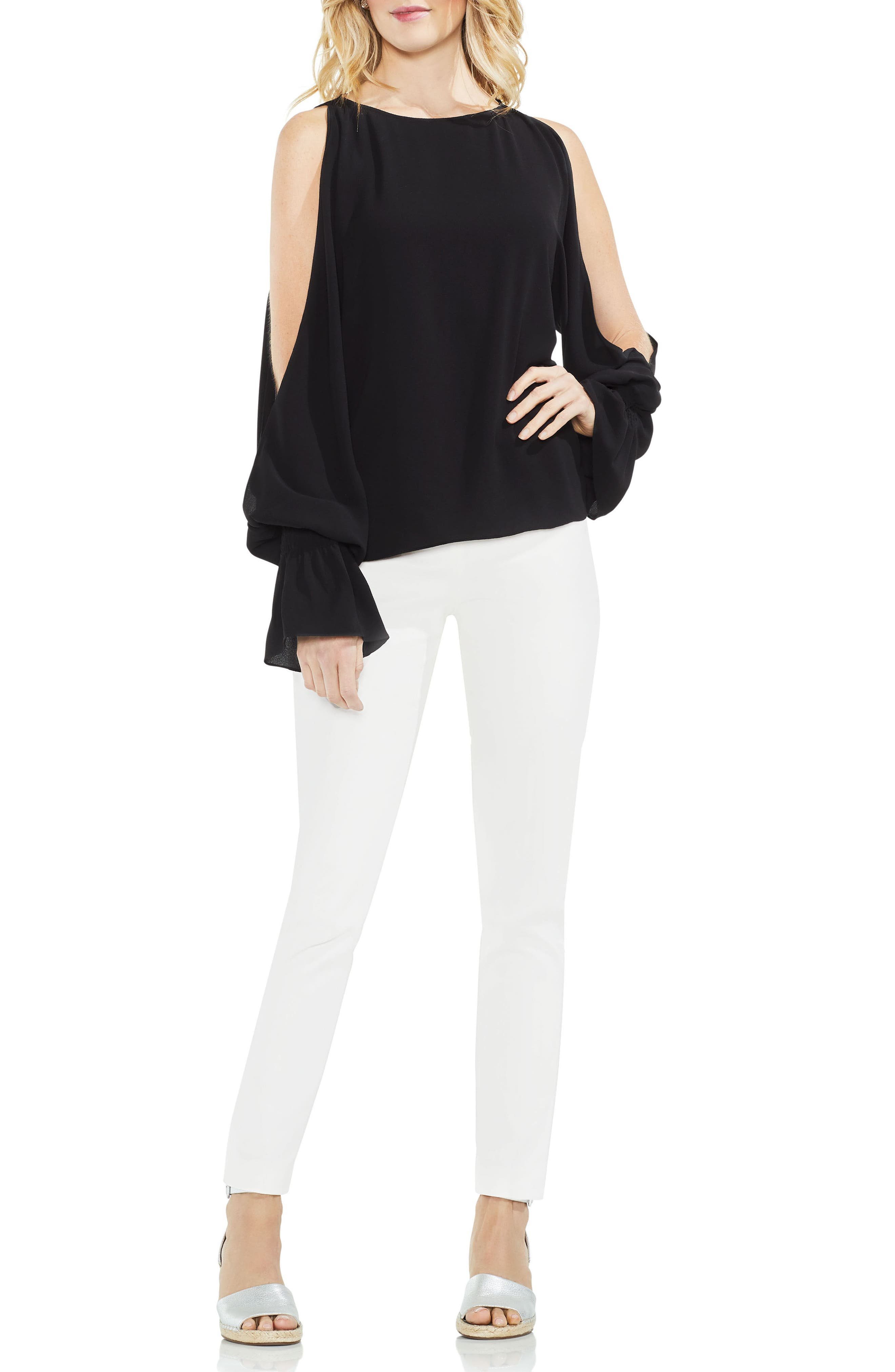 Cold Shoulder Flare Cuff Top,                             Alternate thumbnail 13, color,