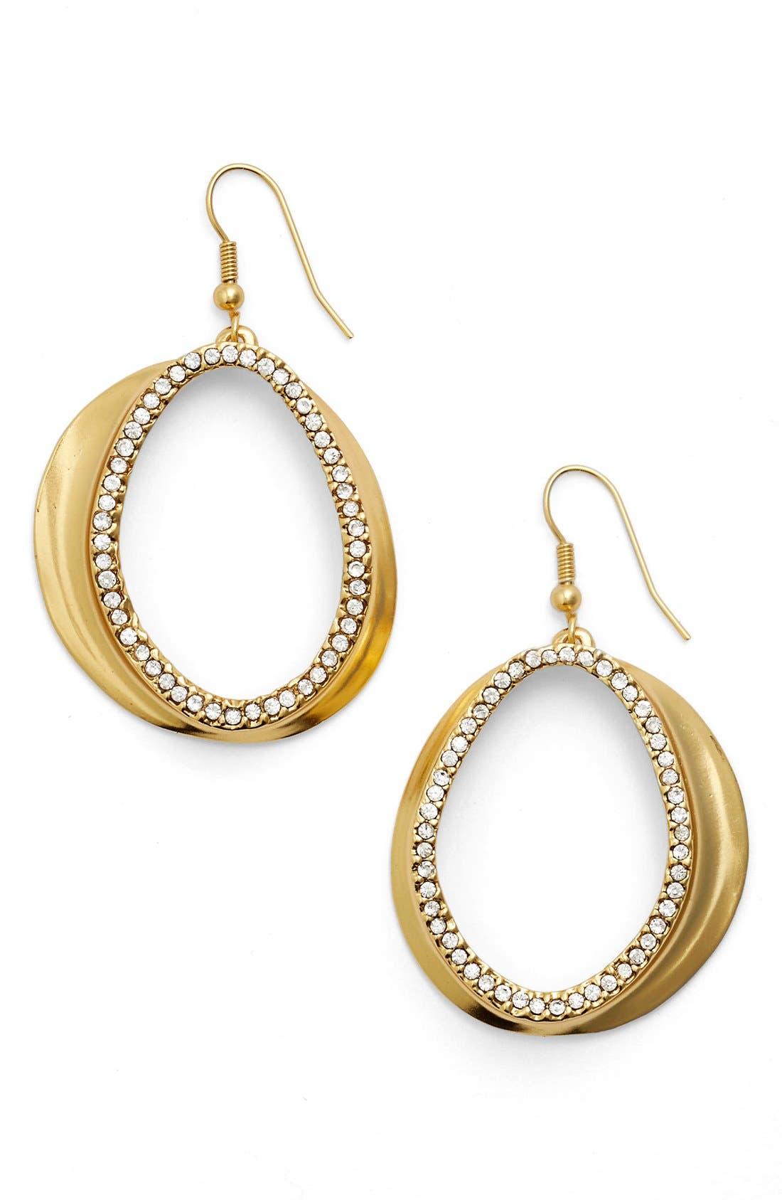 Crystal Front Hoop Earrings,                             Main thumbnail 1, color,                             GOLD