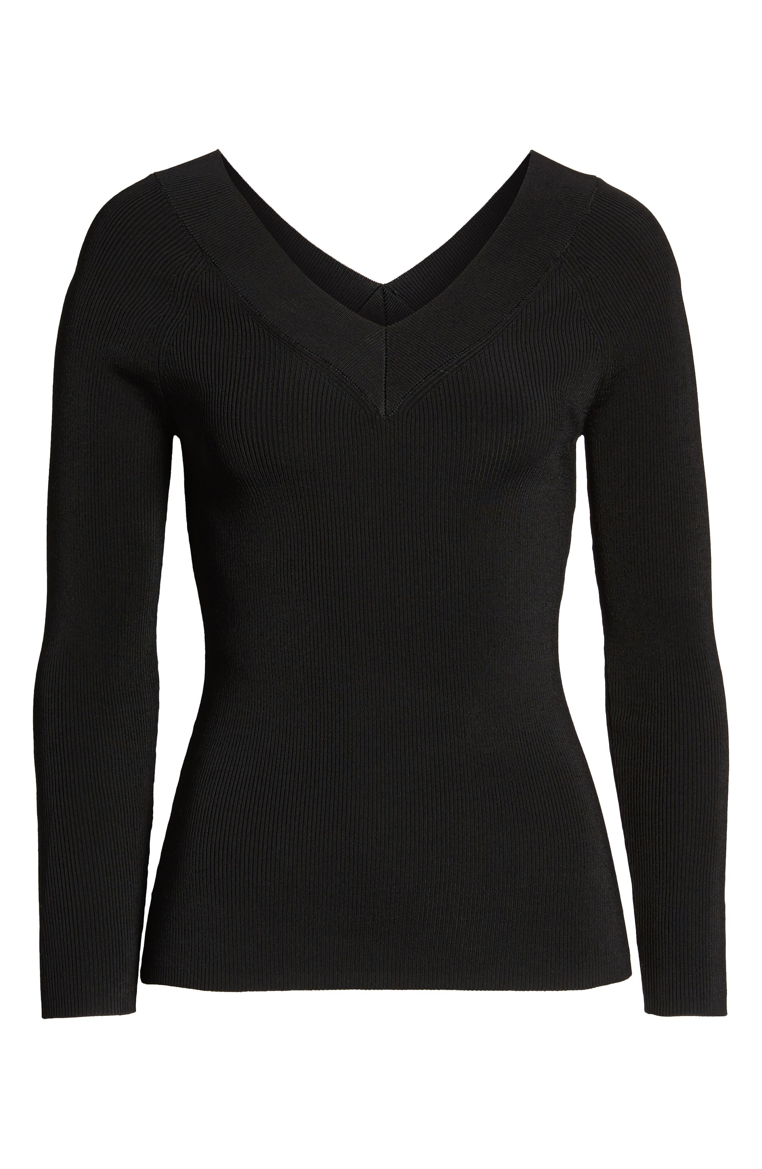 Skivvy Double-V Sweater,                             Alternate thumbnail 6, color,                             001