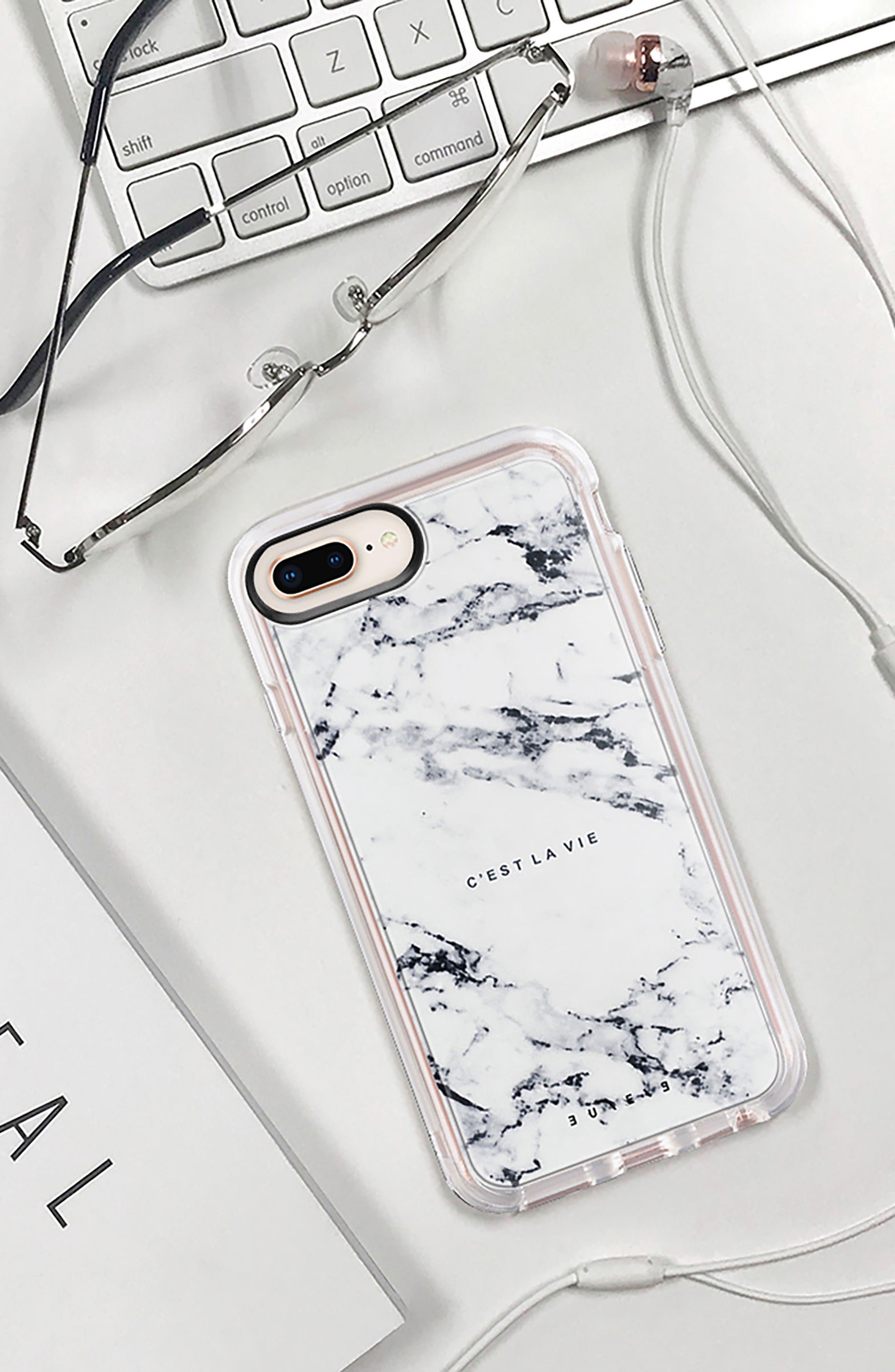 C'est la Vie Marble iPhone 7/8 & 7/8 Plus Case,                             Alternate thumbnail 9, color,                             WHITE MARBLE