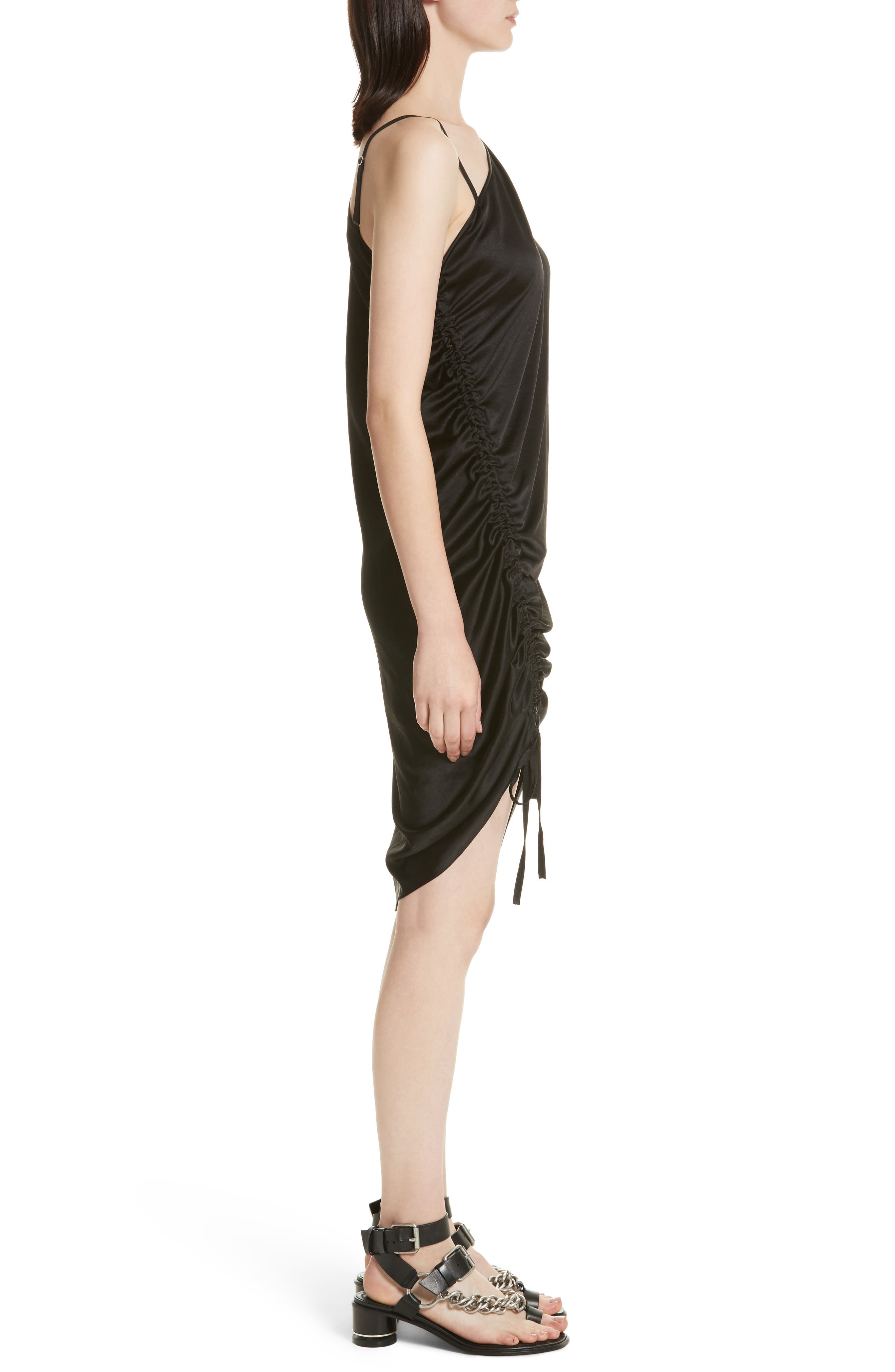 T by Alexander Wang Ruched Asymmetrical Dress,                             Alternate thumbnail 3, color,                             001