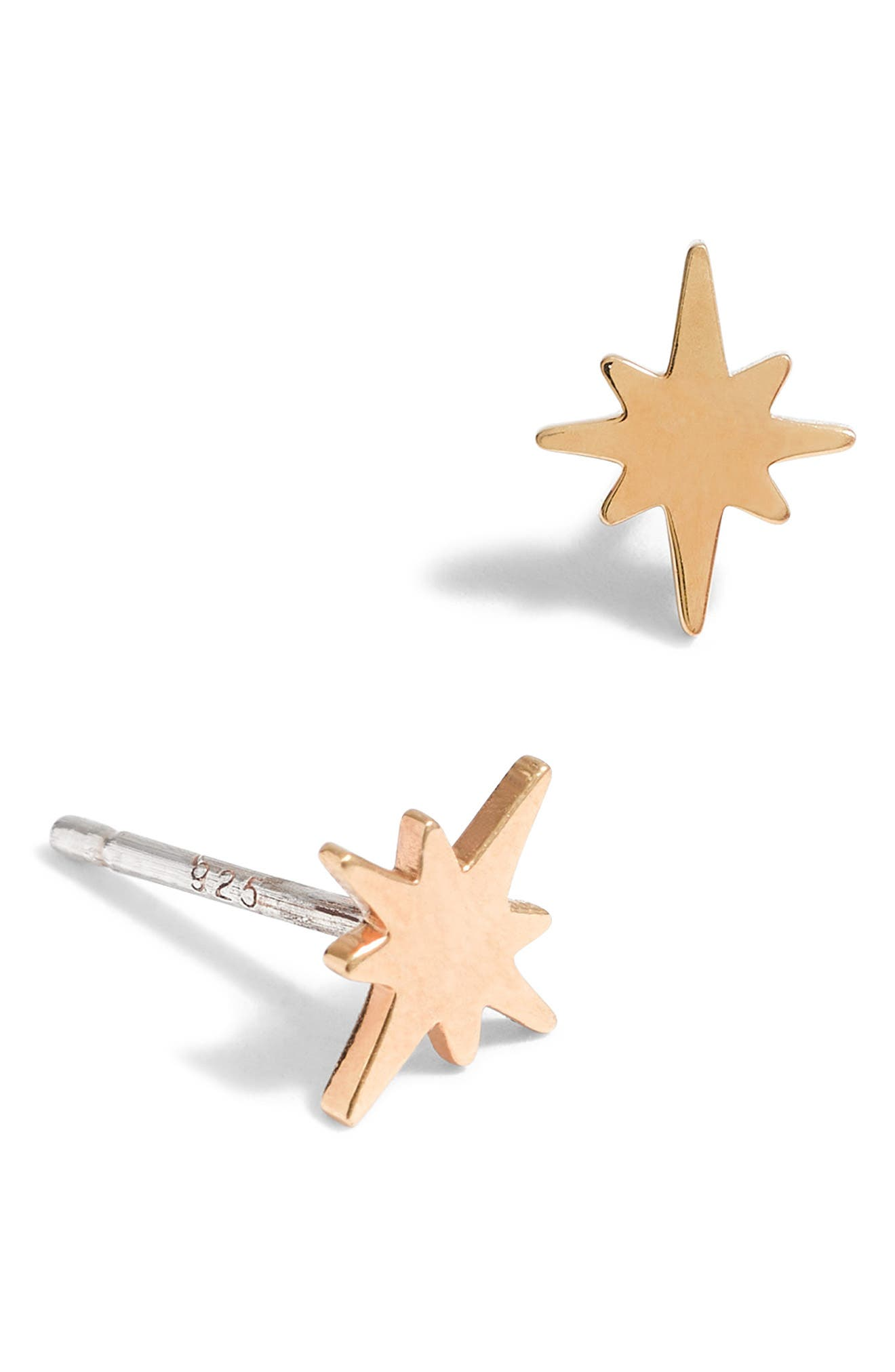 Bright Star Vermeil Stud Earrings, Main, color, VERMEIL