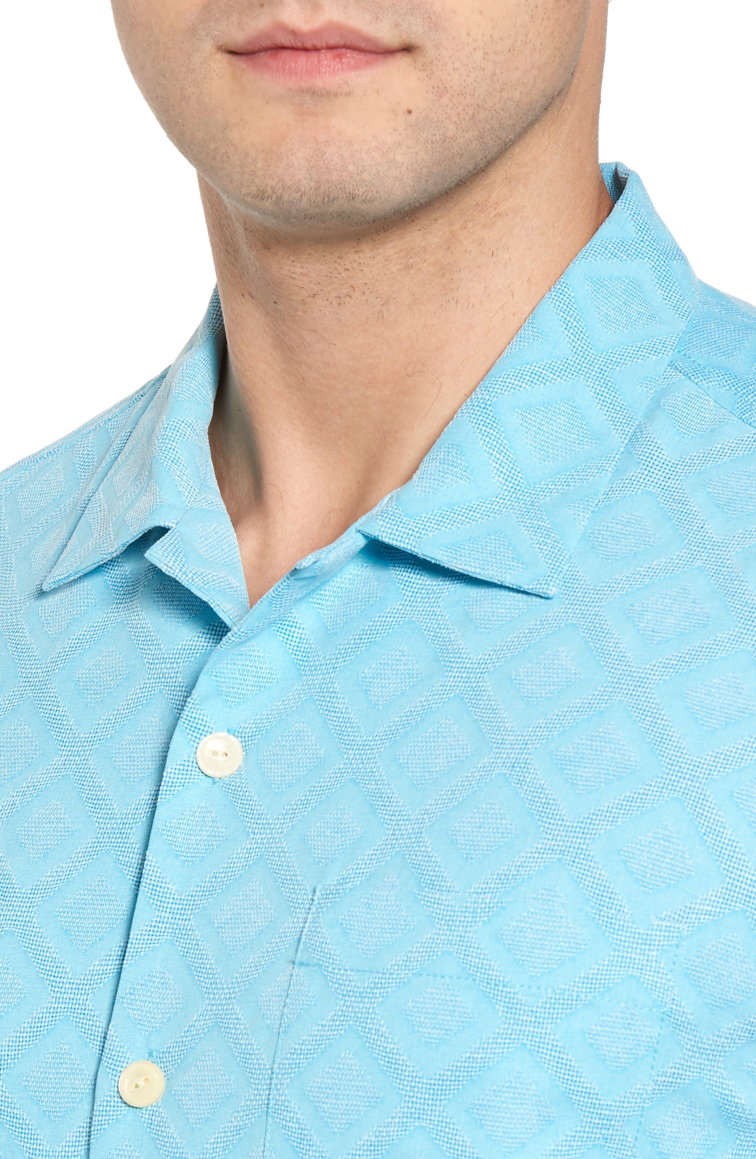 Solid Diamond Isle Silk Sport Shirt,                             Alternate thumbnail 8, color,