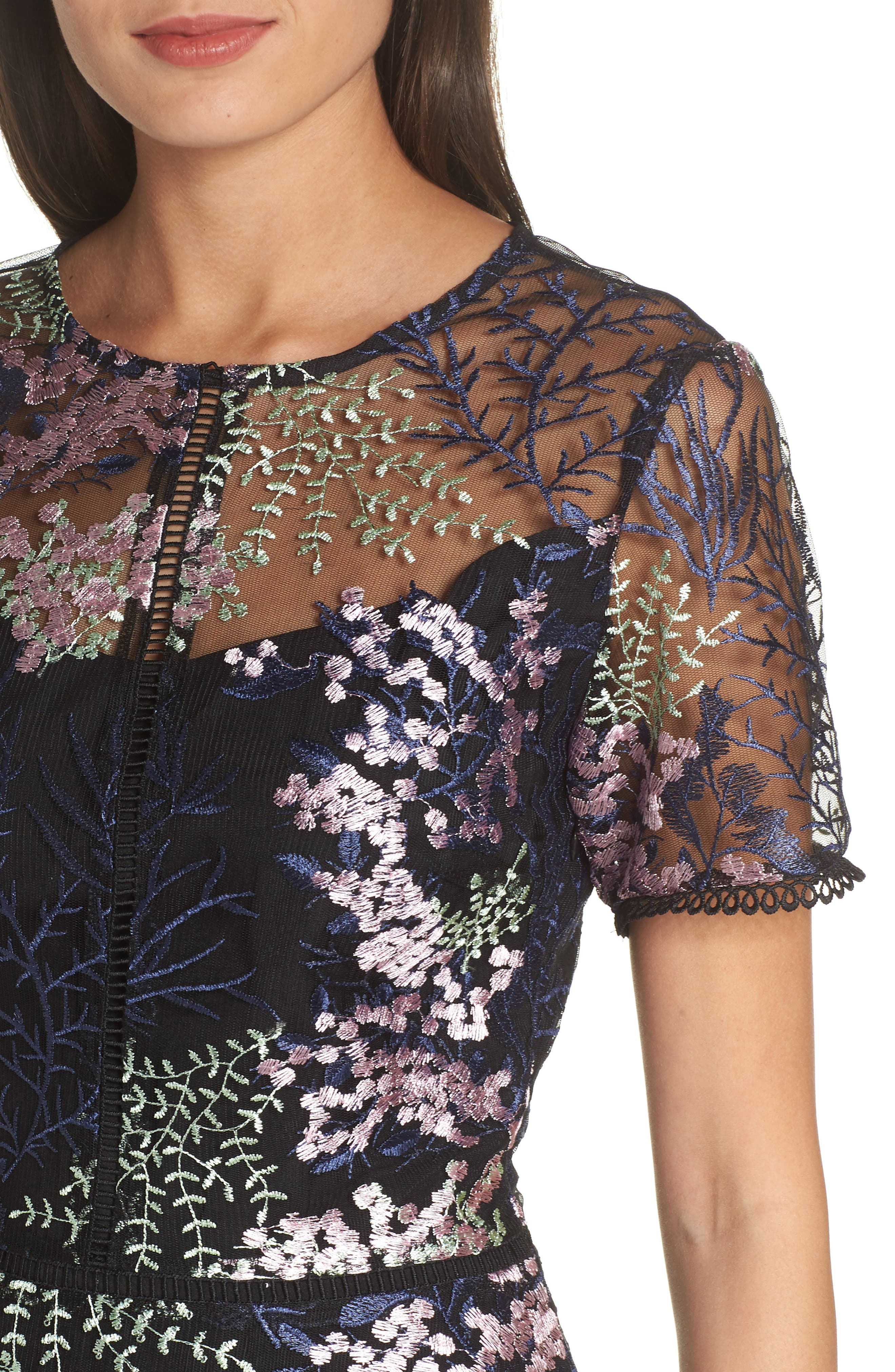 Embroidered Lace A-Line Dress,                             Alternate thumbnail 4, color,                             BLACK FLOWY FLORAL