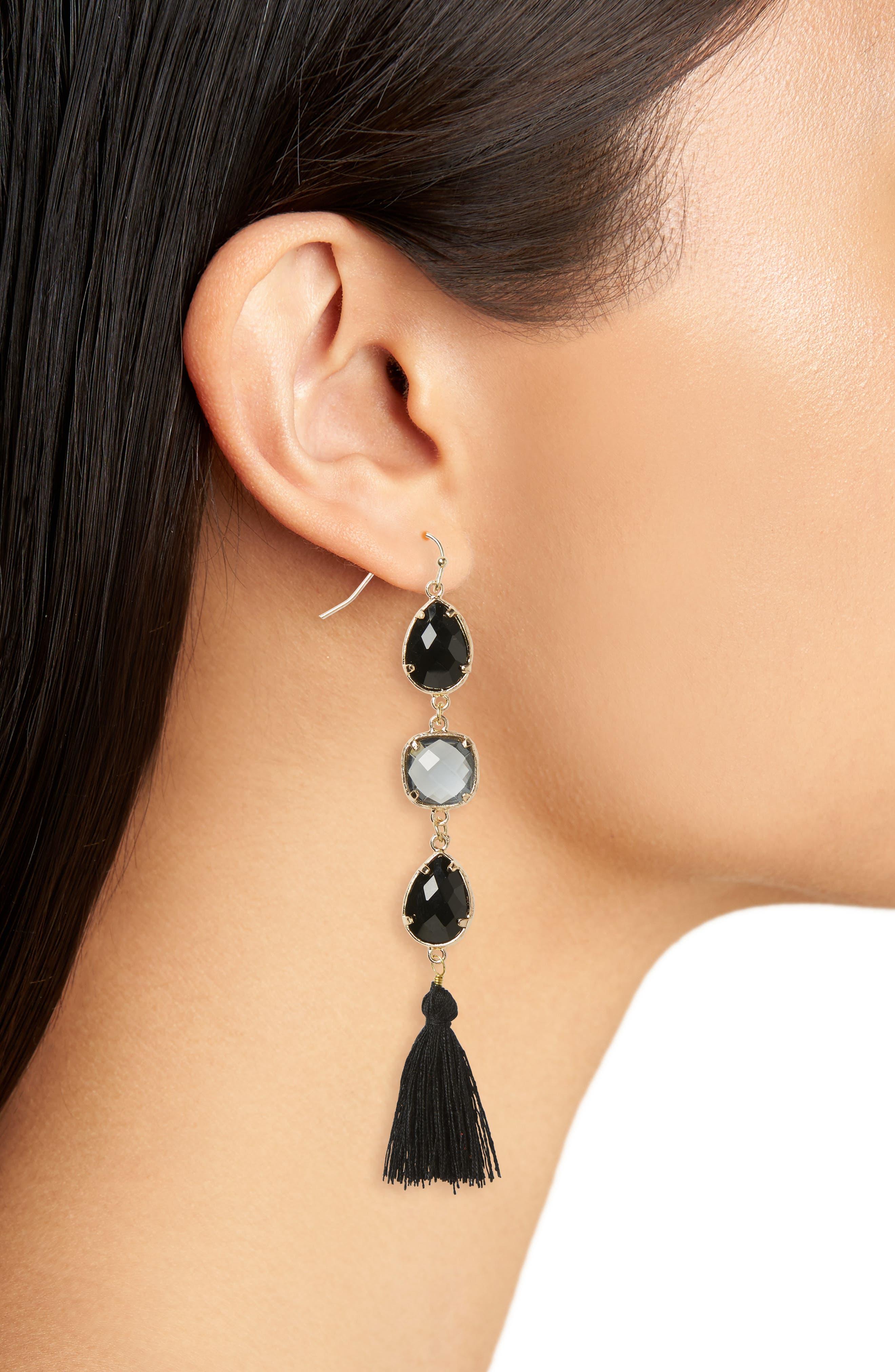 Crystal Tassel Earrings,                             Alternate thumbnail 2, color,                             710