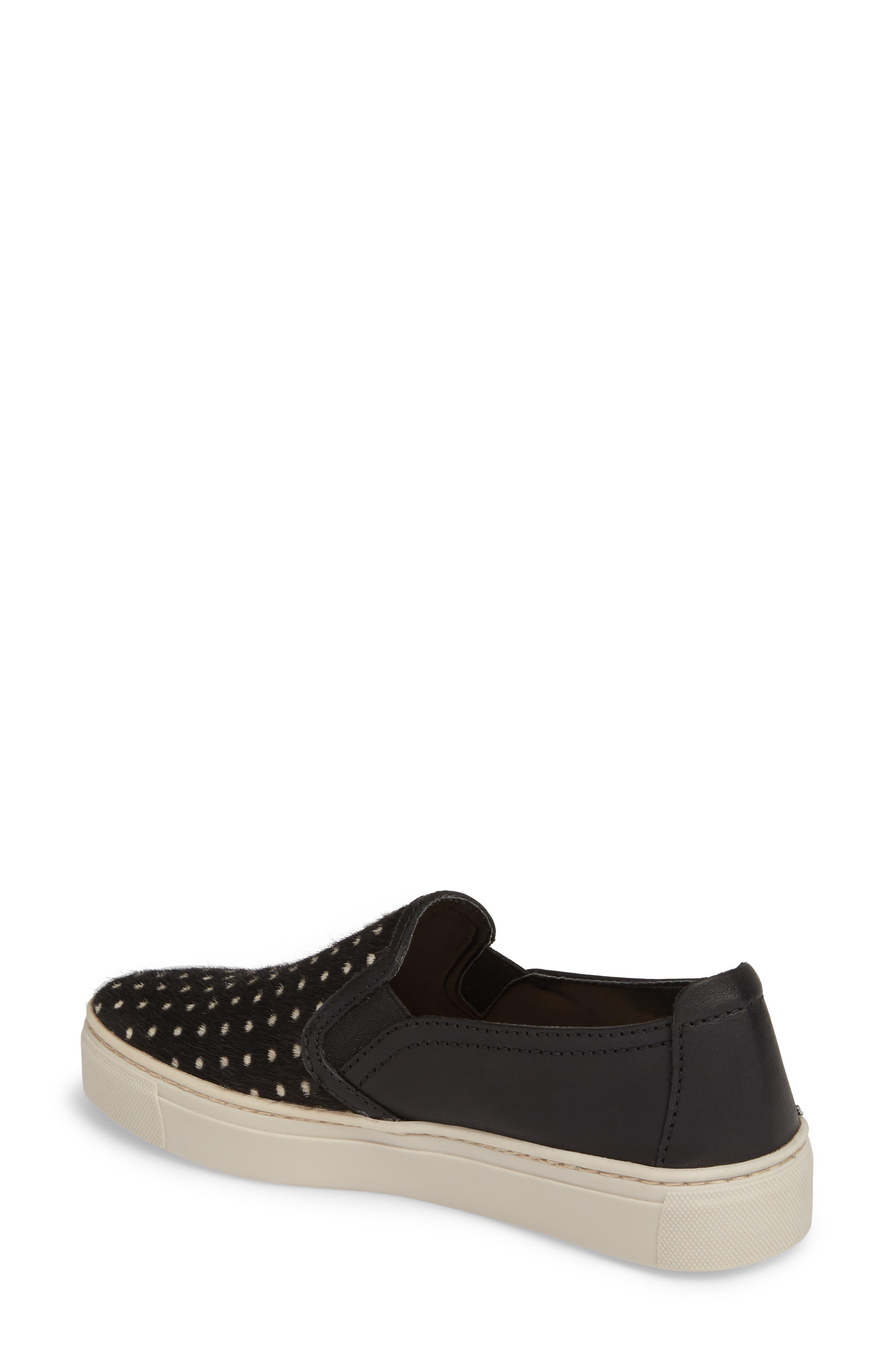 Sneak About Slip-On Sneaker,                             Alternate thumbnail 2, color,                             BLACK POLKA DOT LEATHER