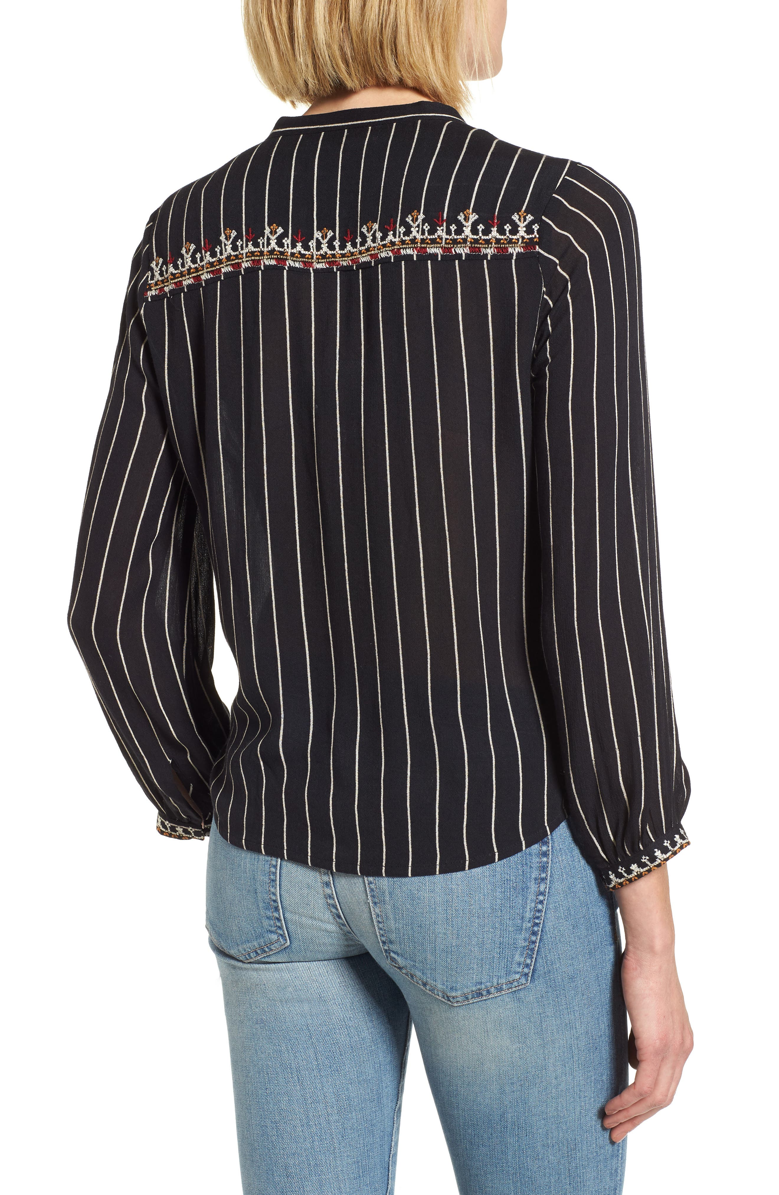 VELVET BY GRAHAM & SPENCER,                             Embroidered Top,                             Alternate thumbnail 2, color,                             STRIPE