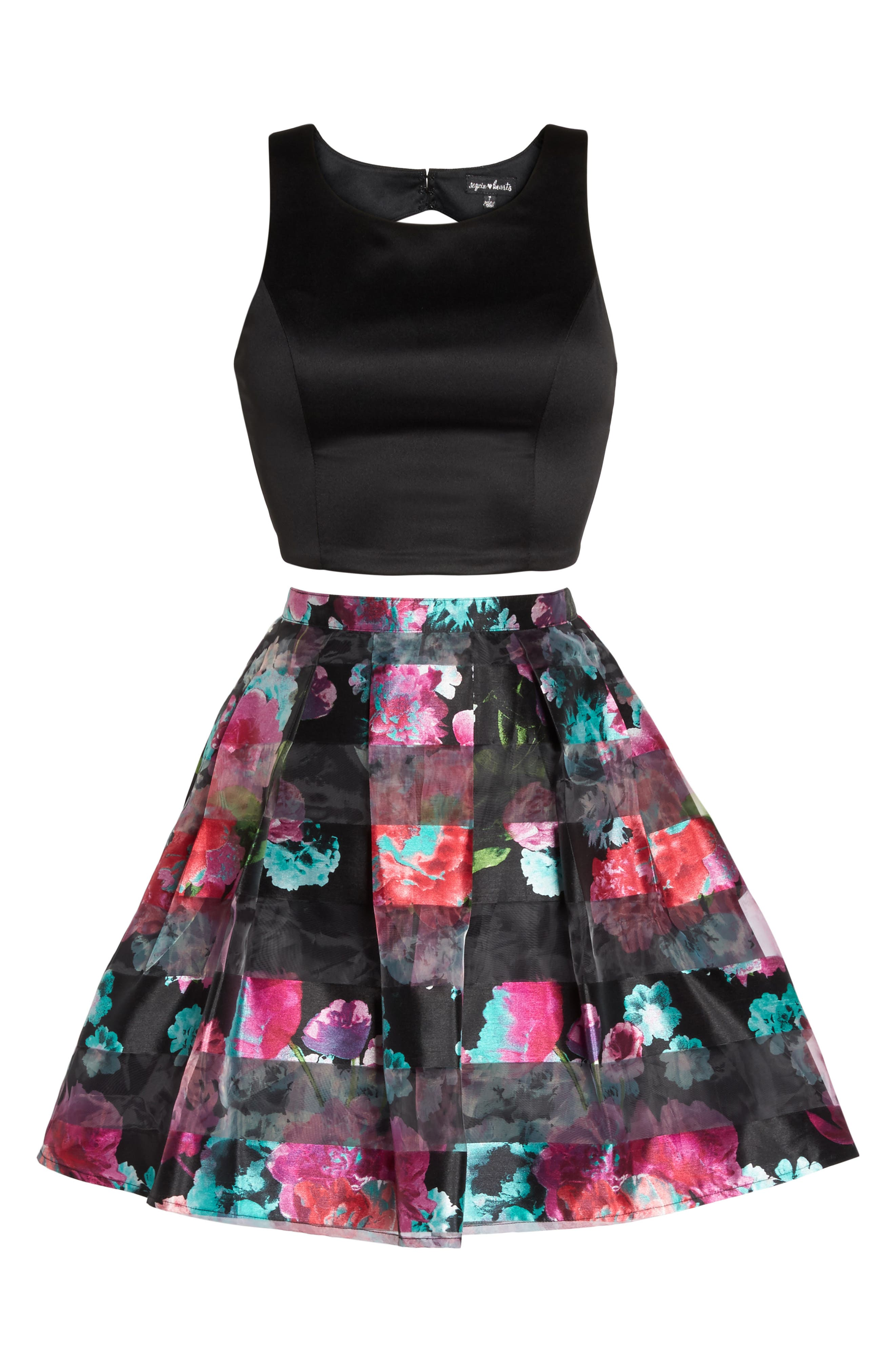 Printed Shadow Skirt Two-Piece Fit & Flare Dress,                             Alternate thumbnail 6, color,                             005