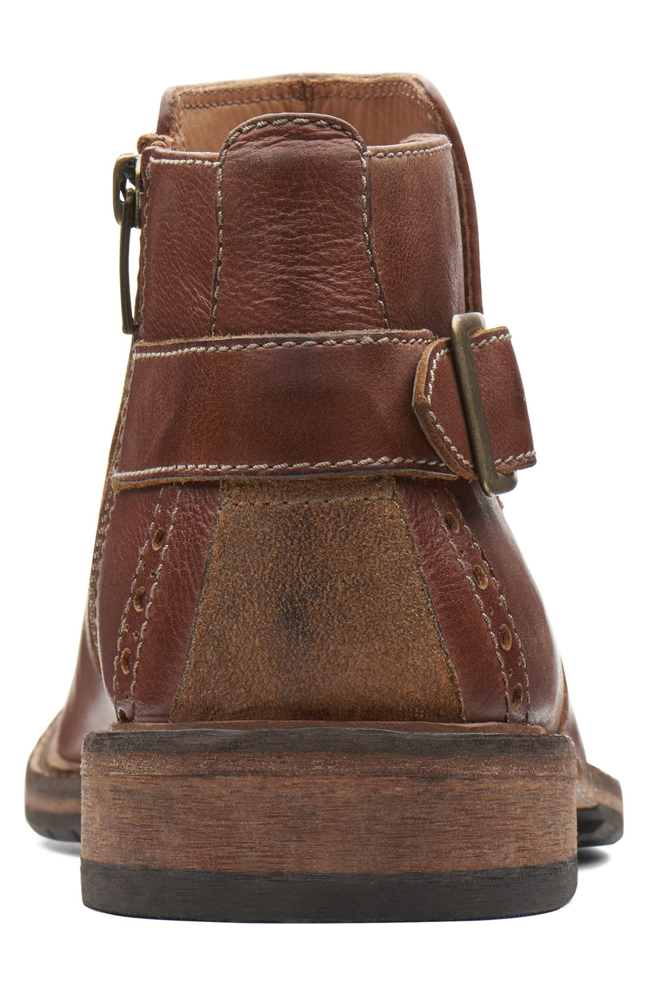 Clarkdale Remi Ankle Boot,                             Alternate thumbnail 4, color,                             DARK TAN LEATHER