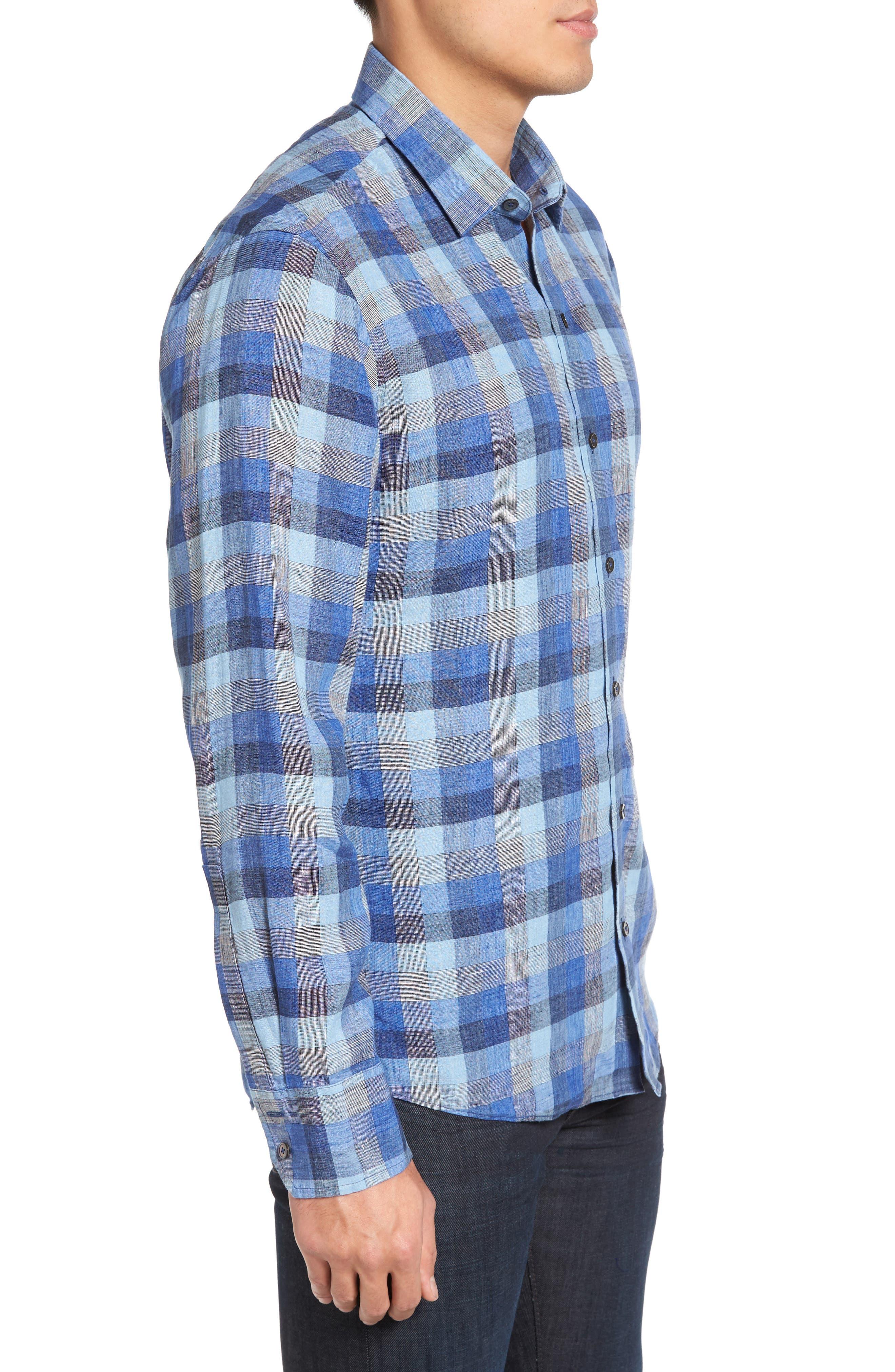 Kerner Plaid Sport Shirt,                             Alternate thumbnail 3, color,