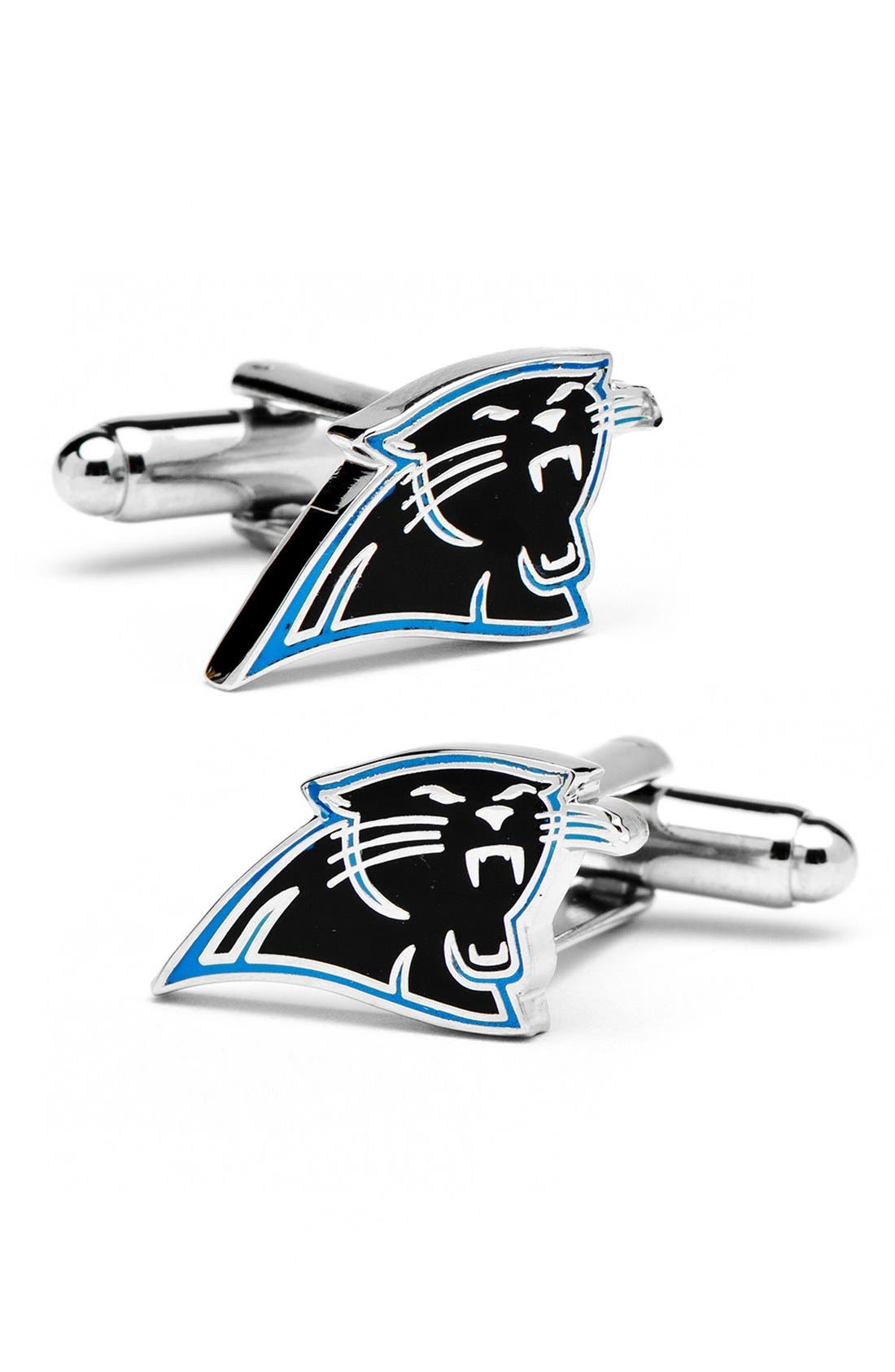 'Carolina Panthers' Cuff Links,                             Main thumbnail 1, color,                             SILVER