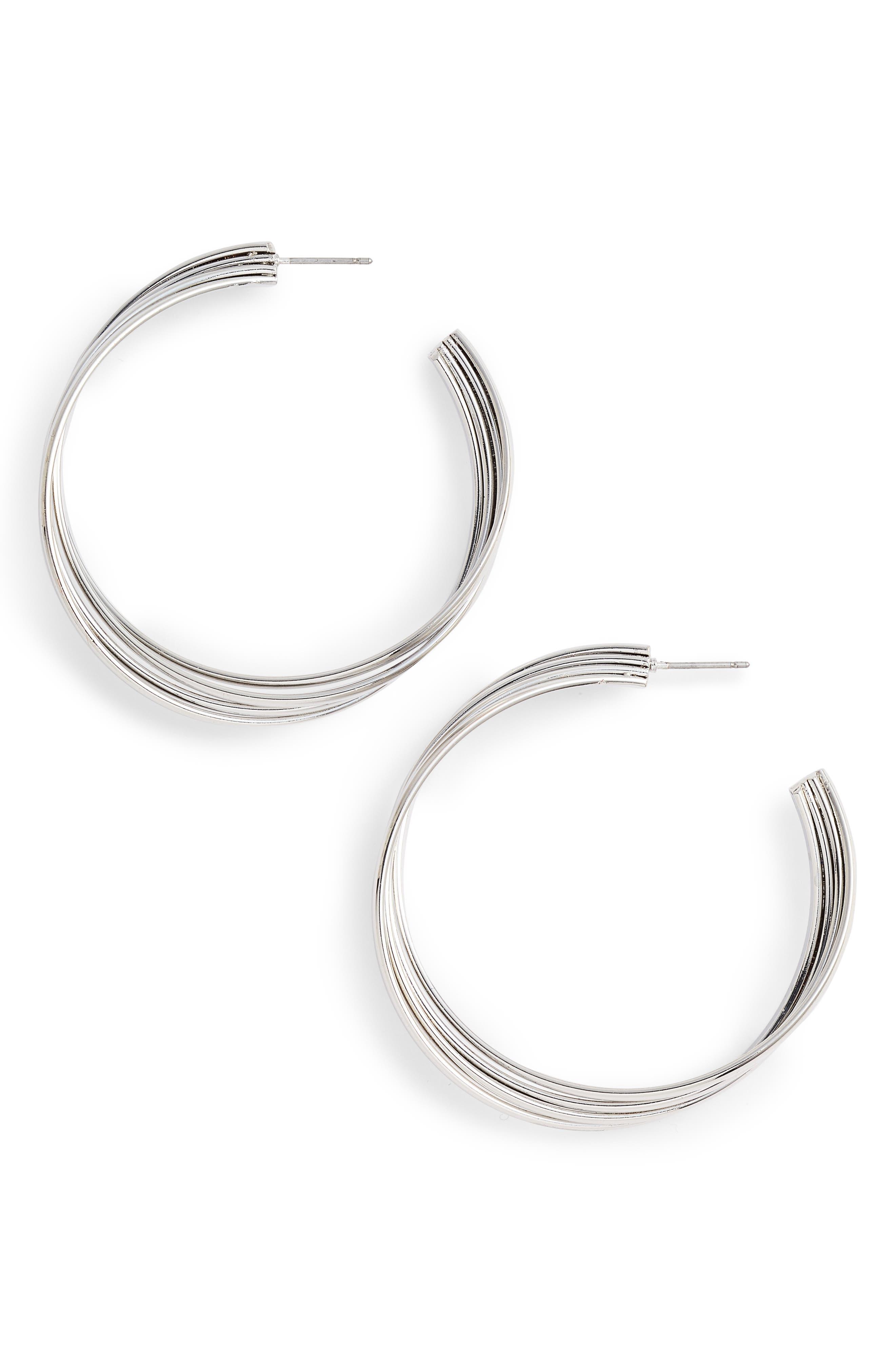 Twisted Wide Hoop Earrings,                         Main,                         color, RHODIUM