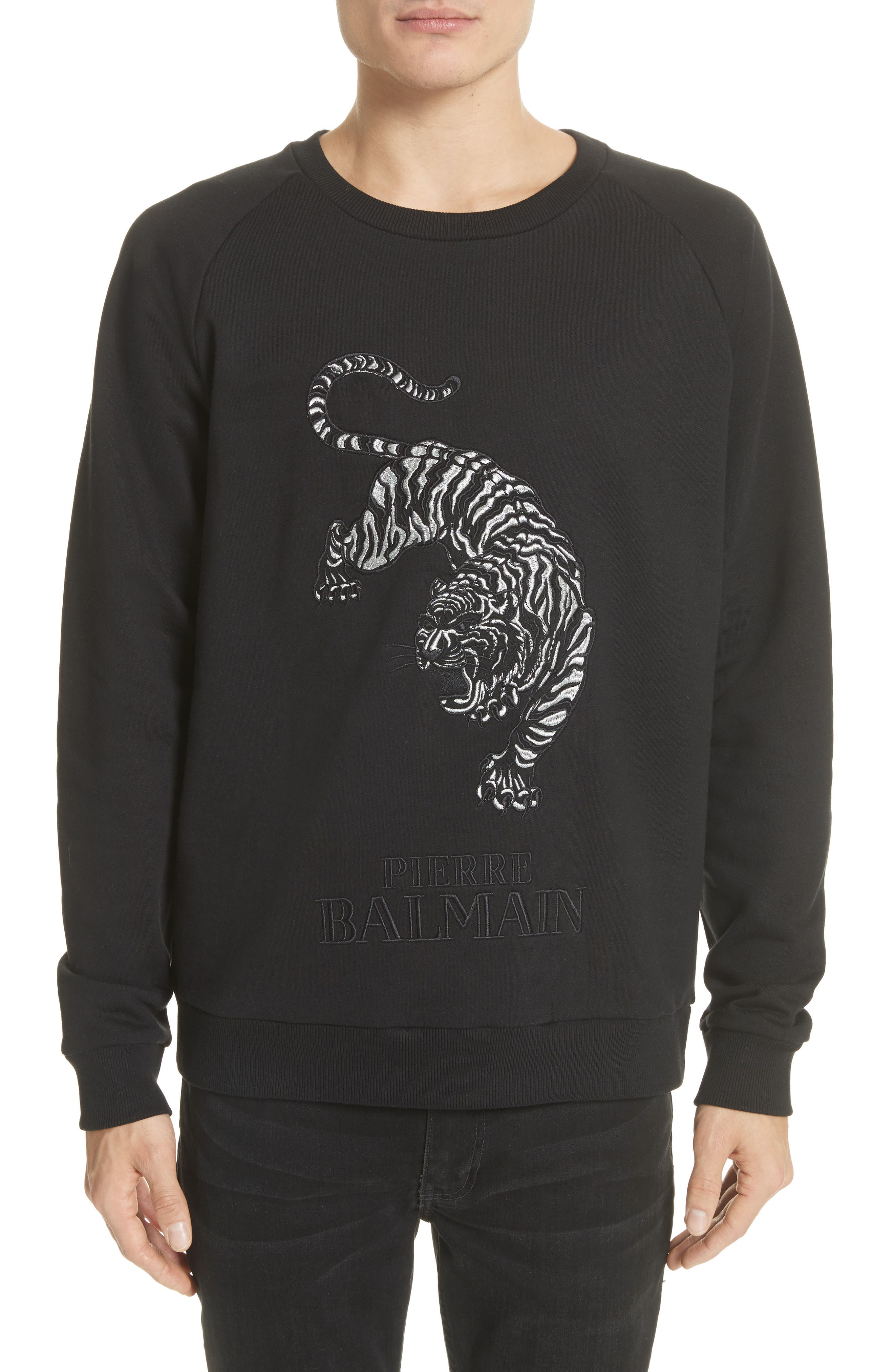 Embroidered Tiger Sweatshirt,                             Main thumbnail 1, color,                             001
