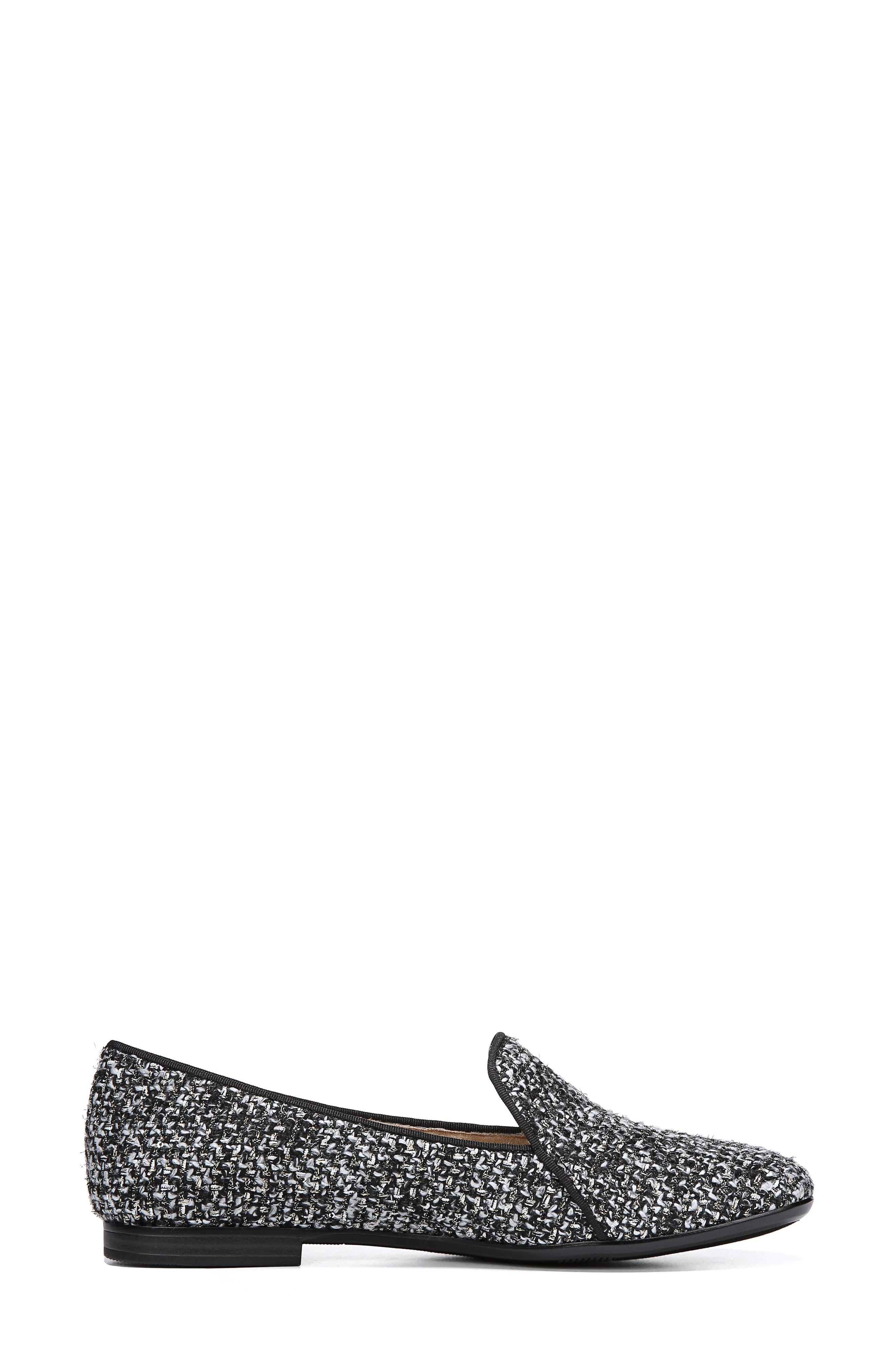 Emiline 2 Loafer,                             Alternate thumbnail 3, color,                             BLACK/ WHITE TWEED FABRIC