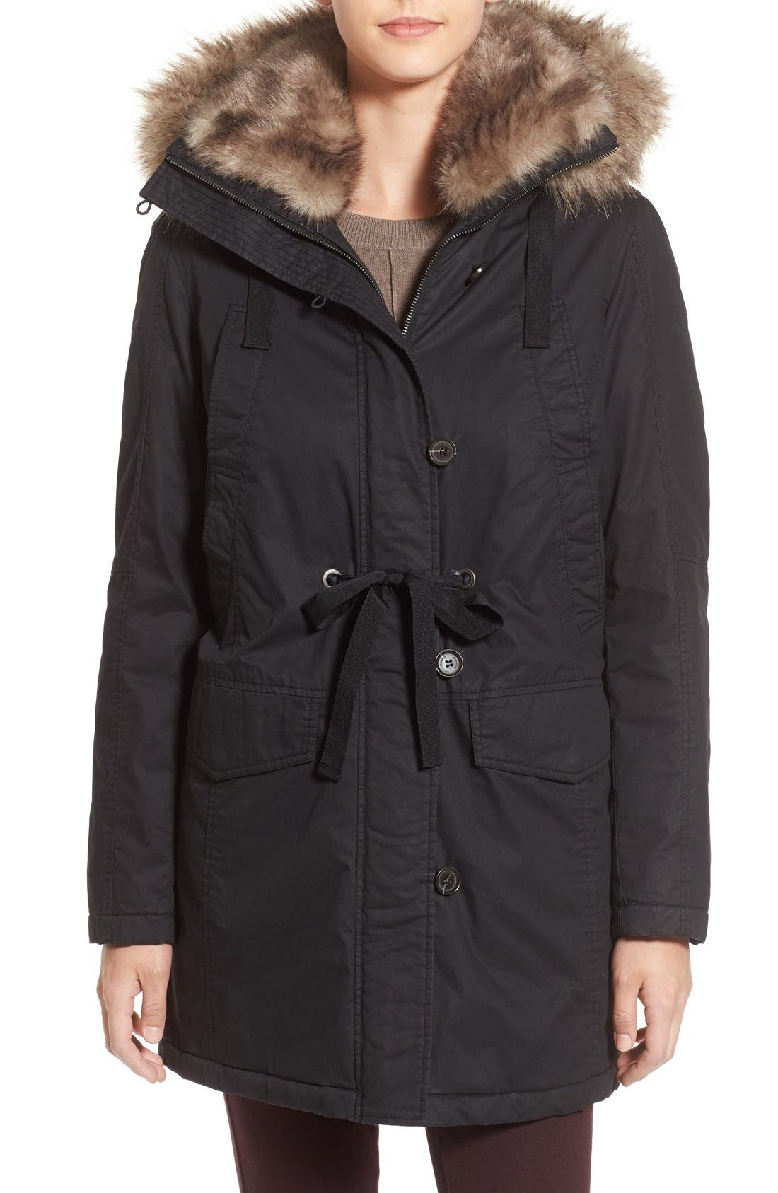 Hooded Parka With Faux Fur Trim,                             Main thumbnail 1, color,                             001