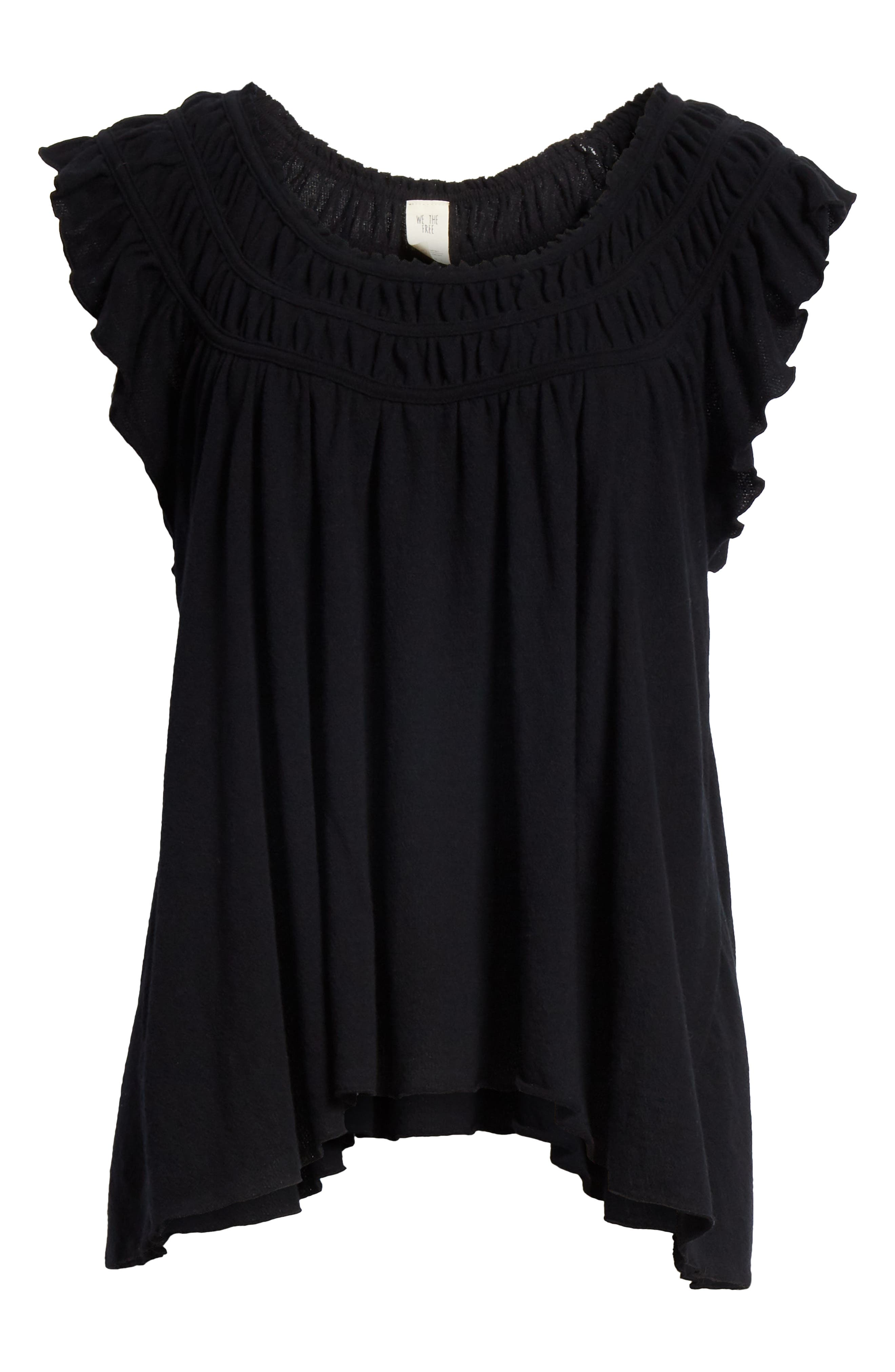 We the Free by Free People Coconut Gathered Top,                             Alternate thumbnail 6, color,                             BLACK