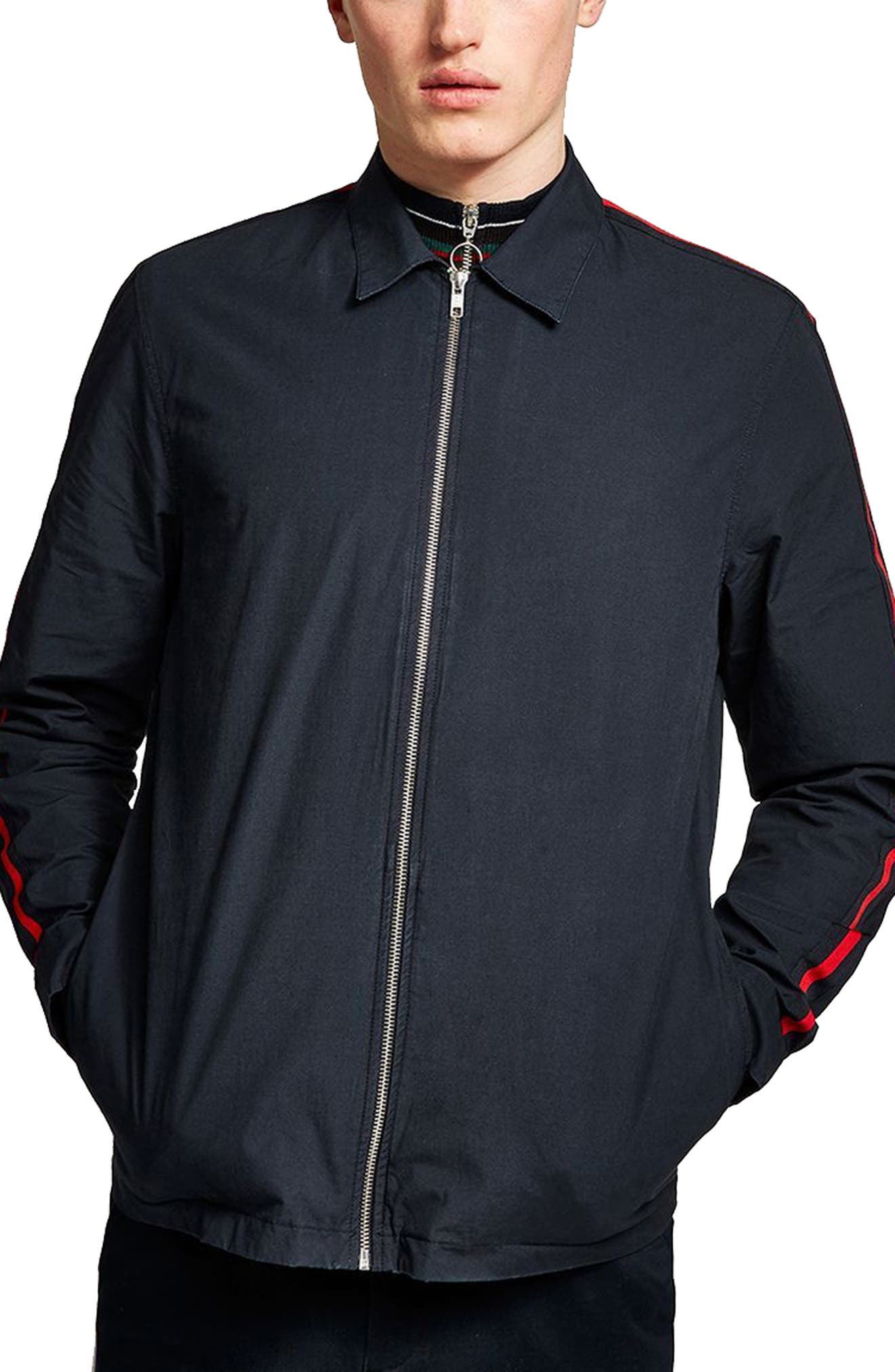 Stripe Sleeve Shirt Jacket,                             Main thumbnail 1, color,                             411