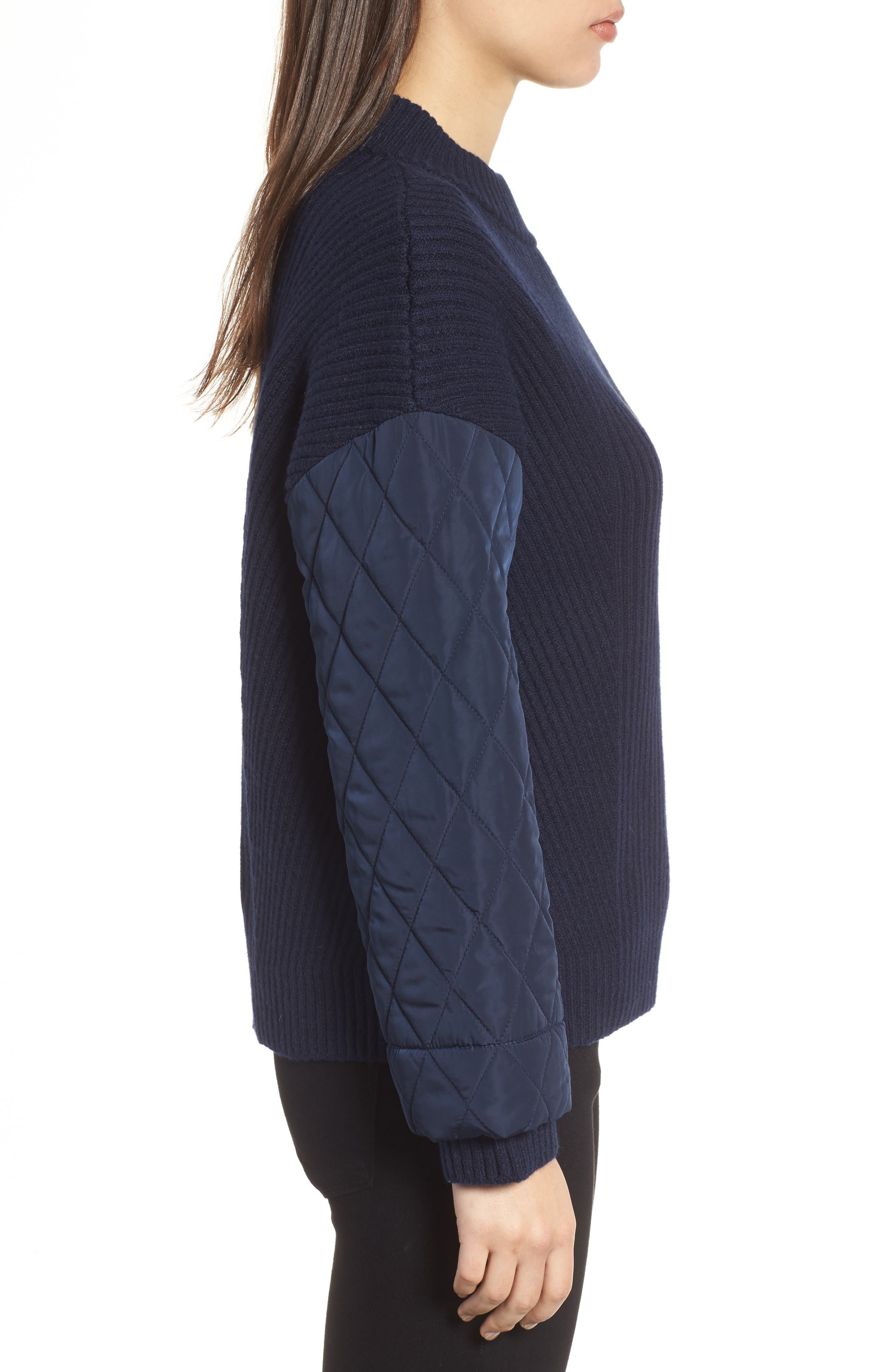 Quilted Sleeve Sweater,                             Alternate thumbnail 3, color,                             INDIGO