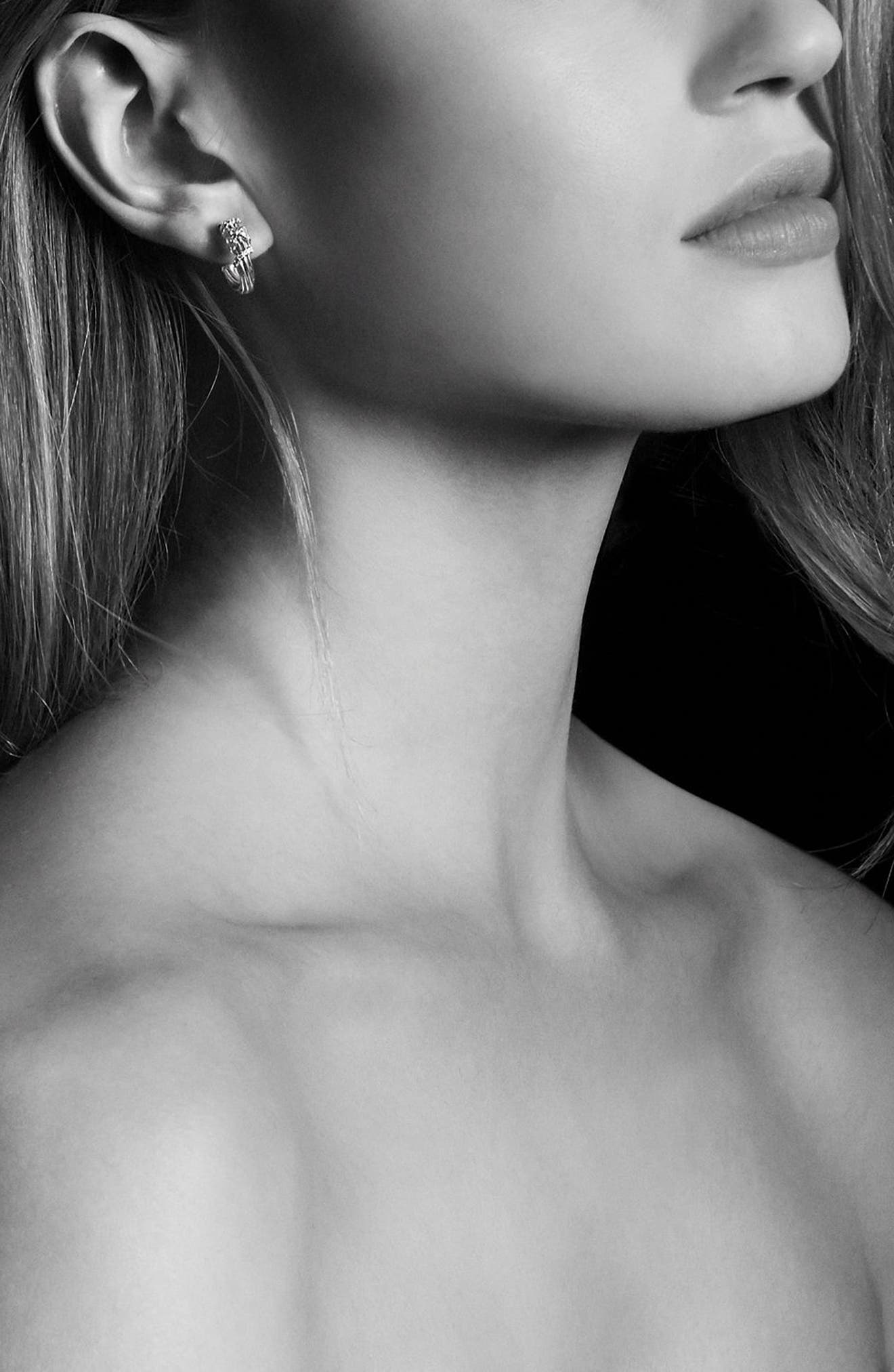 Helena Small Hoop Earrings with Diamonds & 18K Gold,                             Alternate thumbnail 3, color,                             SILVER/ GOLD