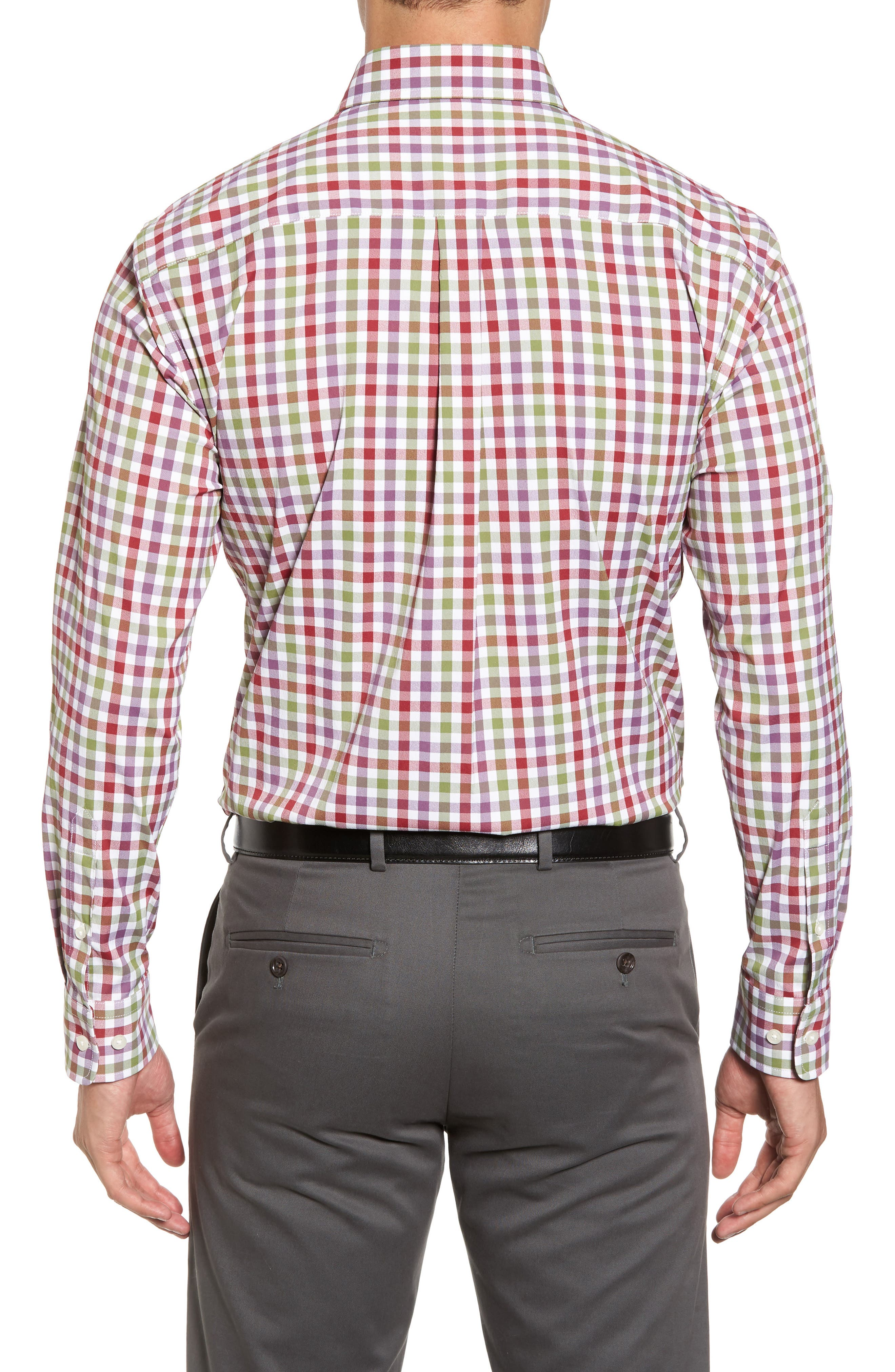 Autumn Check Easy Care Sport Shirt,                             Alternate thumbnail 2, color,