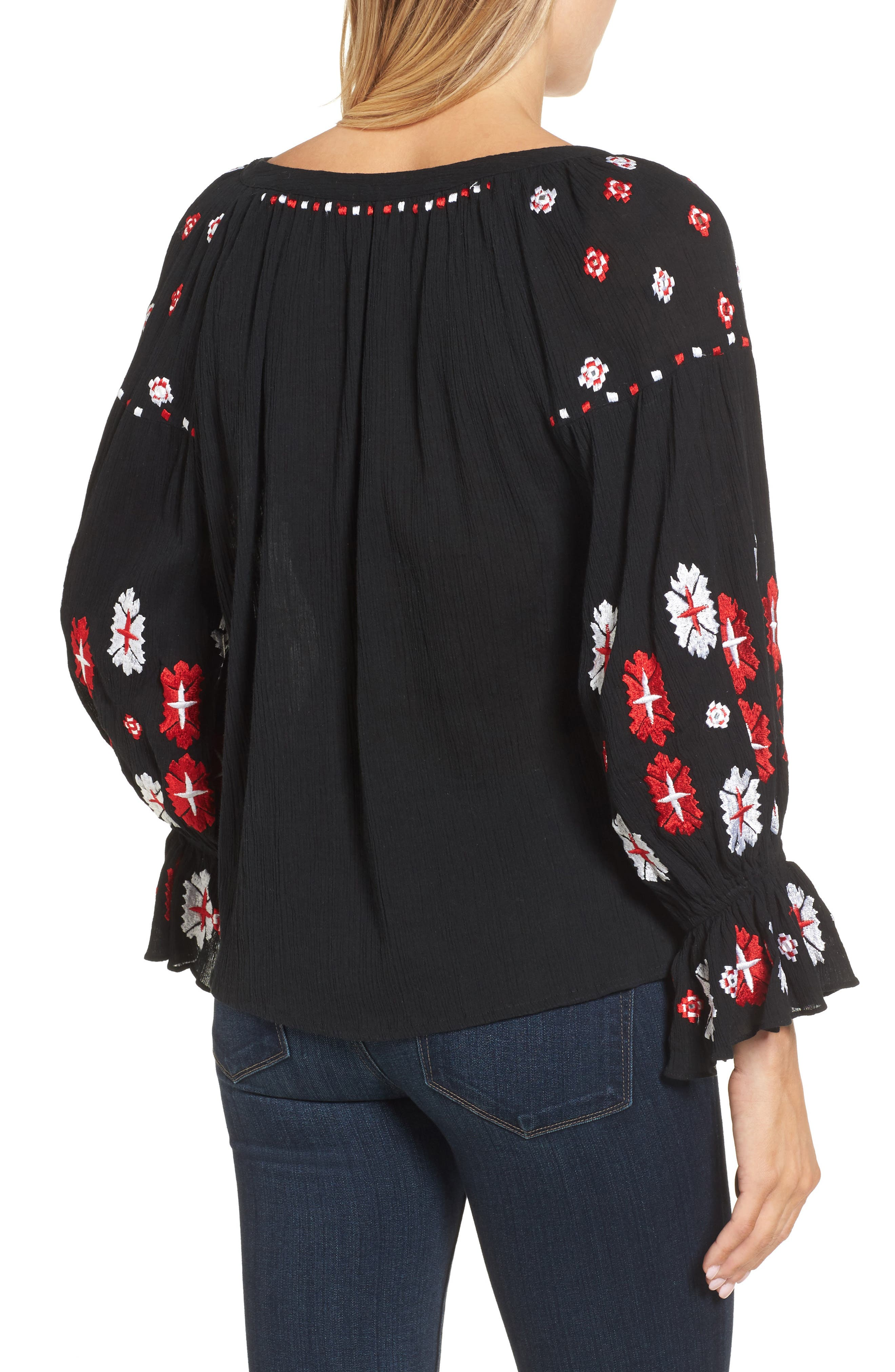Myra Hand Embroidered Blouse,                             Alternate thumbnail 2, color,                             001