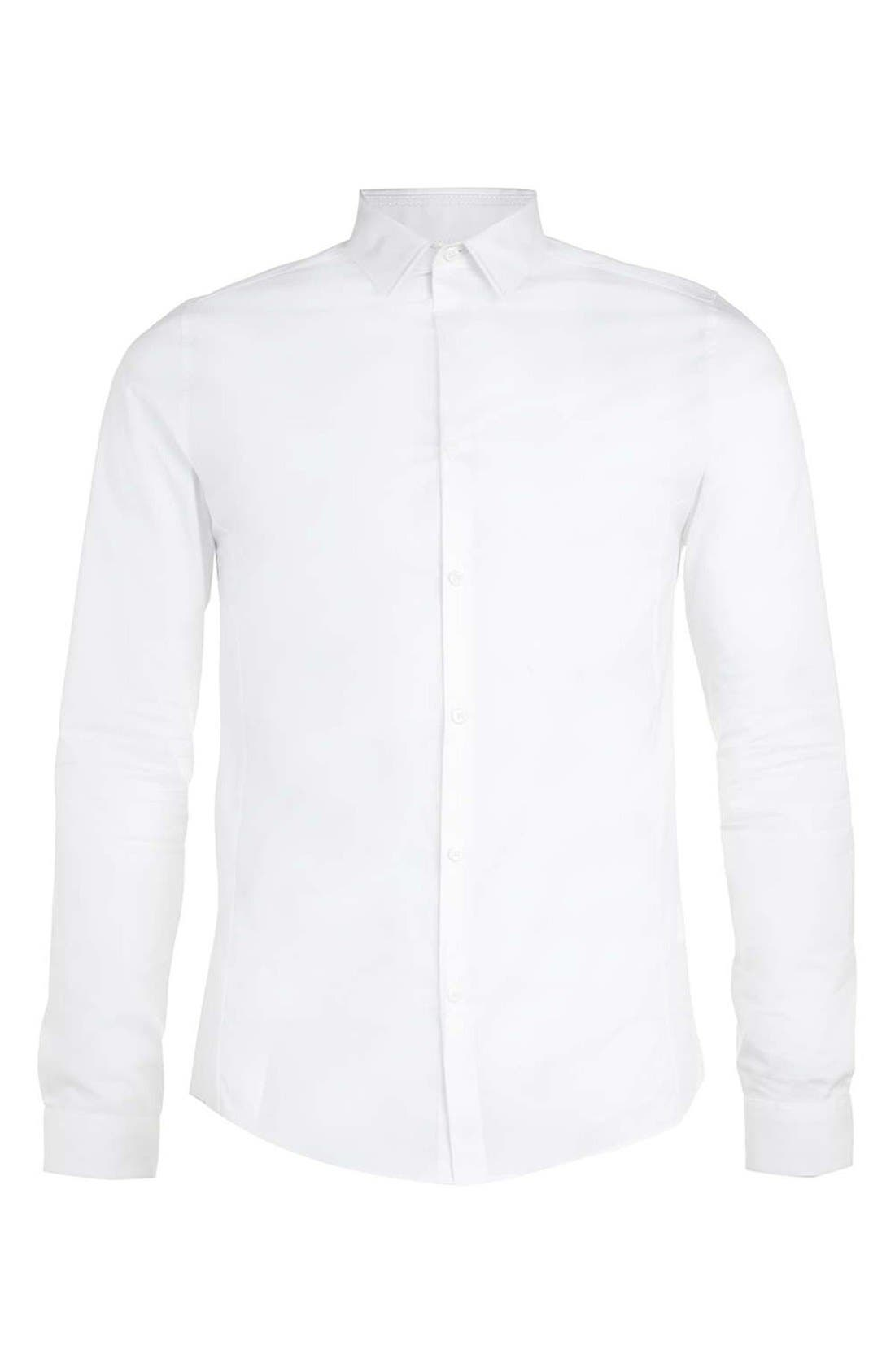 Long Sleeve Woven Shirt,                             Alternate thumbnail 4, color,                             WHITE