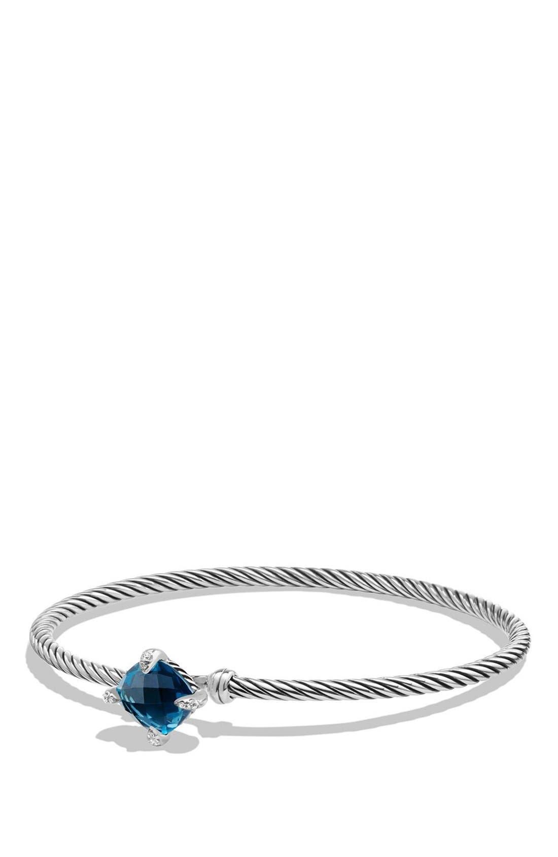 'Châtelaine' Bracelet with Diamonds,                             Main thumbnail 1, color,                             SILVER/ HAMPTON BLUE TOPAZ