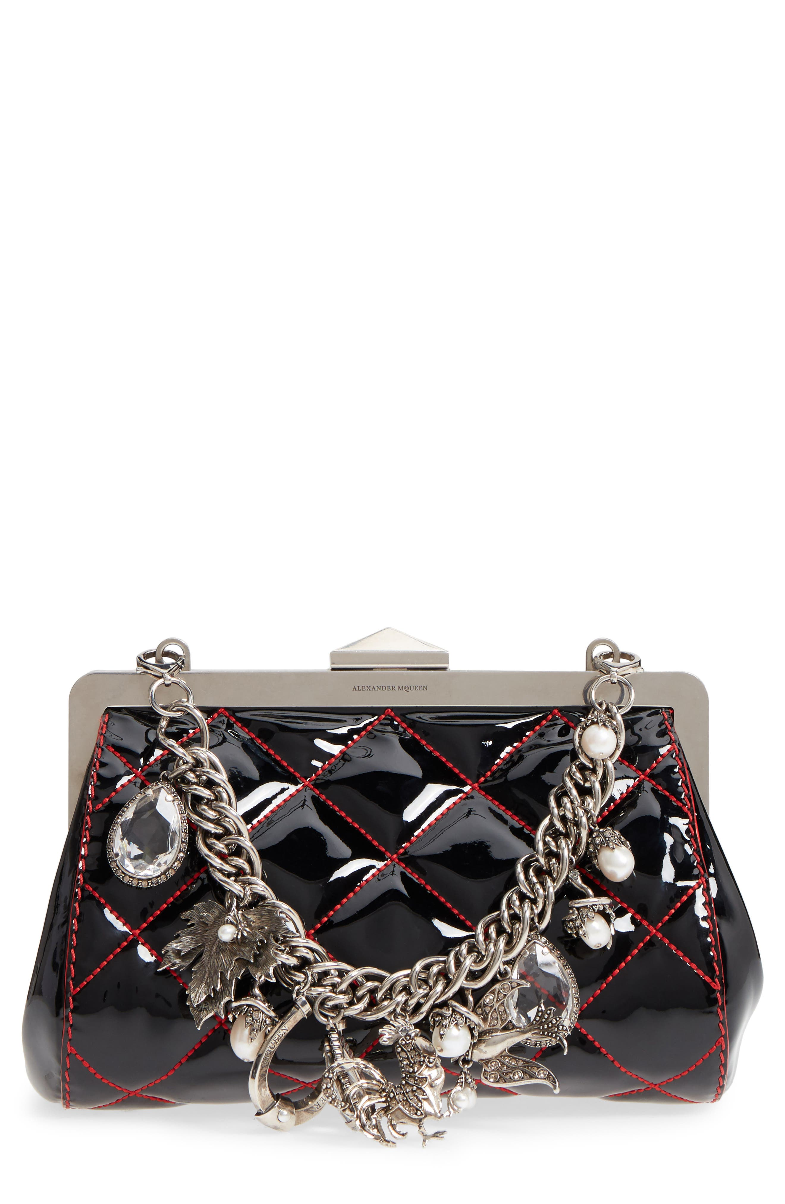 Quilted Patent Leather Frame Clutch,                         Main,                         color, BLACK/ LUST RED