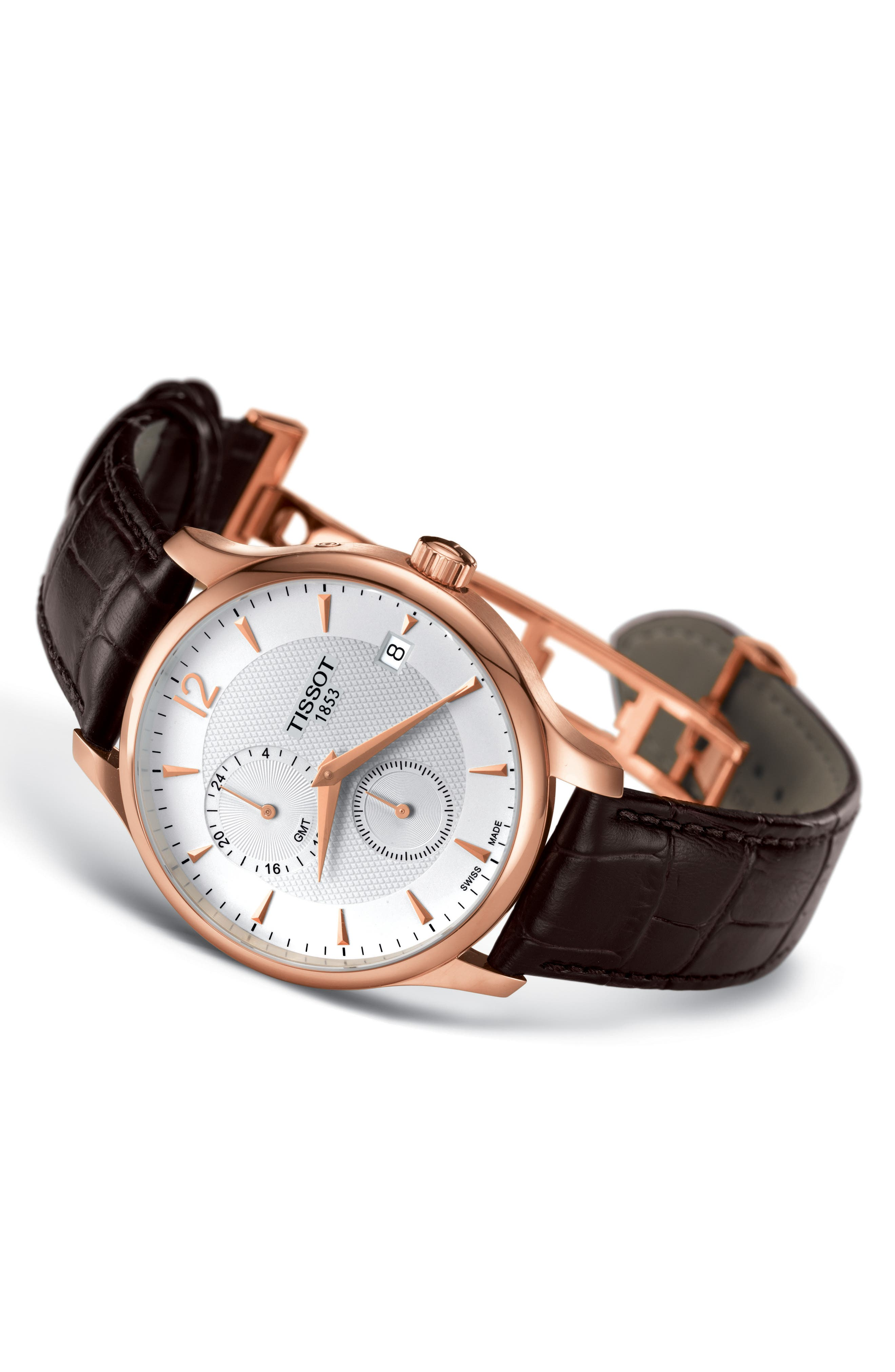 Tradition GMT Leather Strap Watch, 42mm,                             Alternate thumbnail 2, color,                             BROWN/ ROSE GOLD